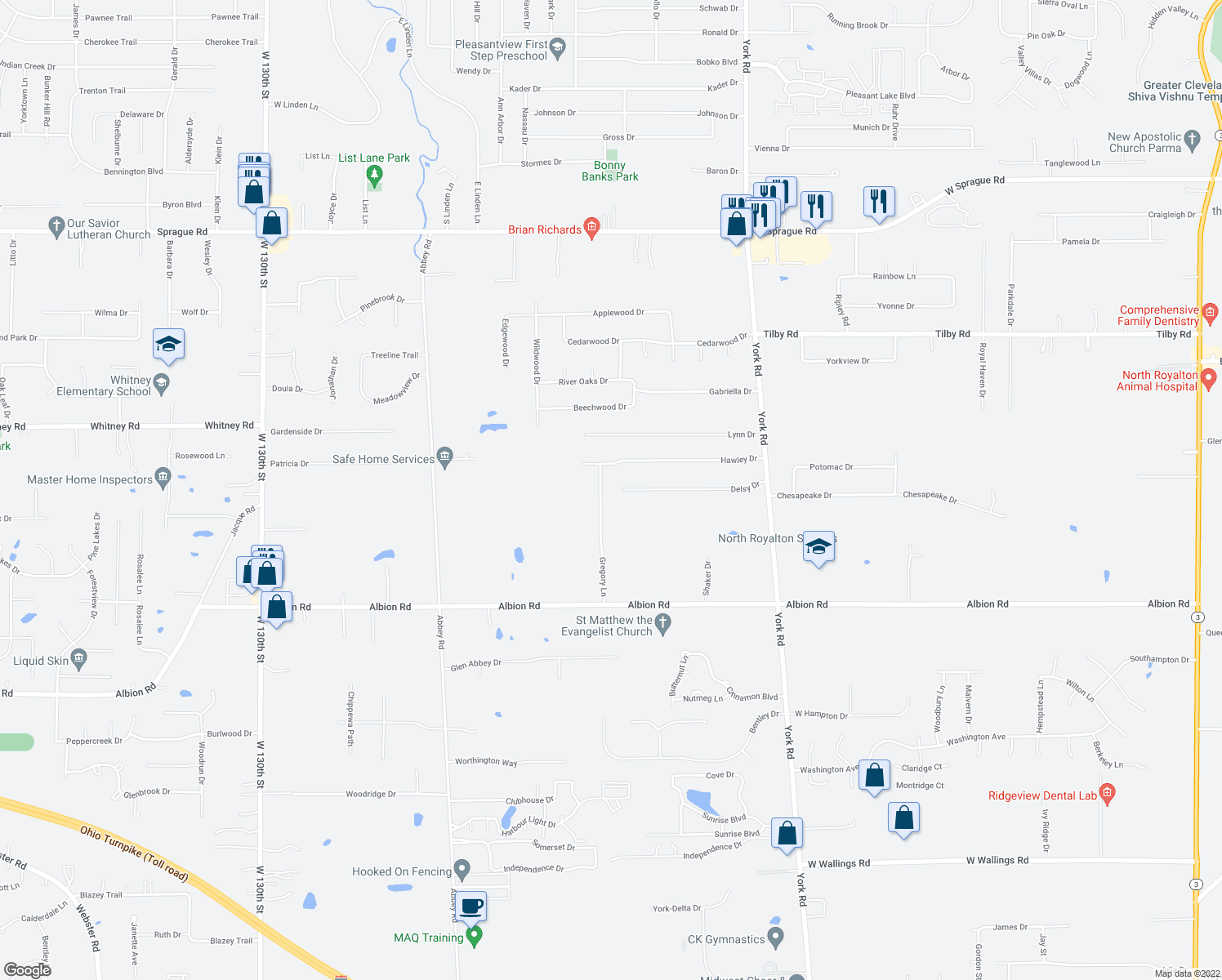 map of restaurants, bars, coffee shops, grocery stores, and more near 10845 Gregory Ln in North Royalton