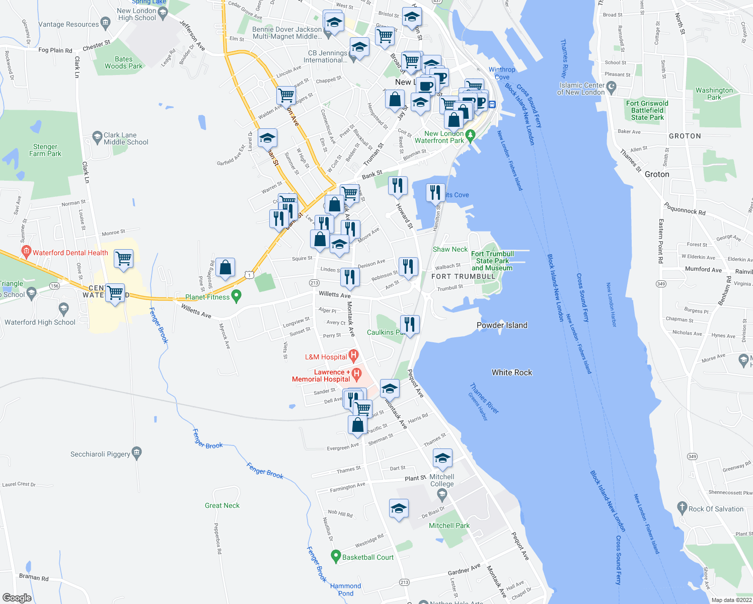 map of restaurants, bars, coffee shops, grocery stores, and more near 84 Maple Avenue in New London