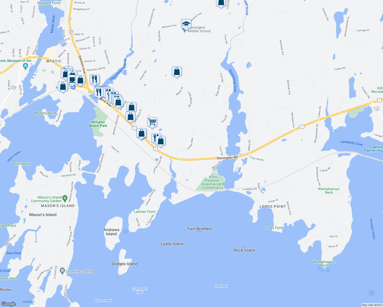map of restaurants, bars, coffee shops, grocery stores, and more near in Stonington