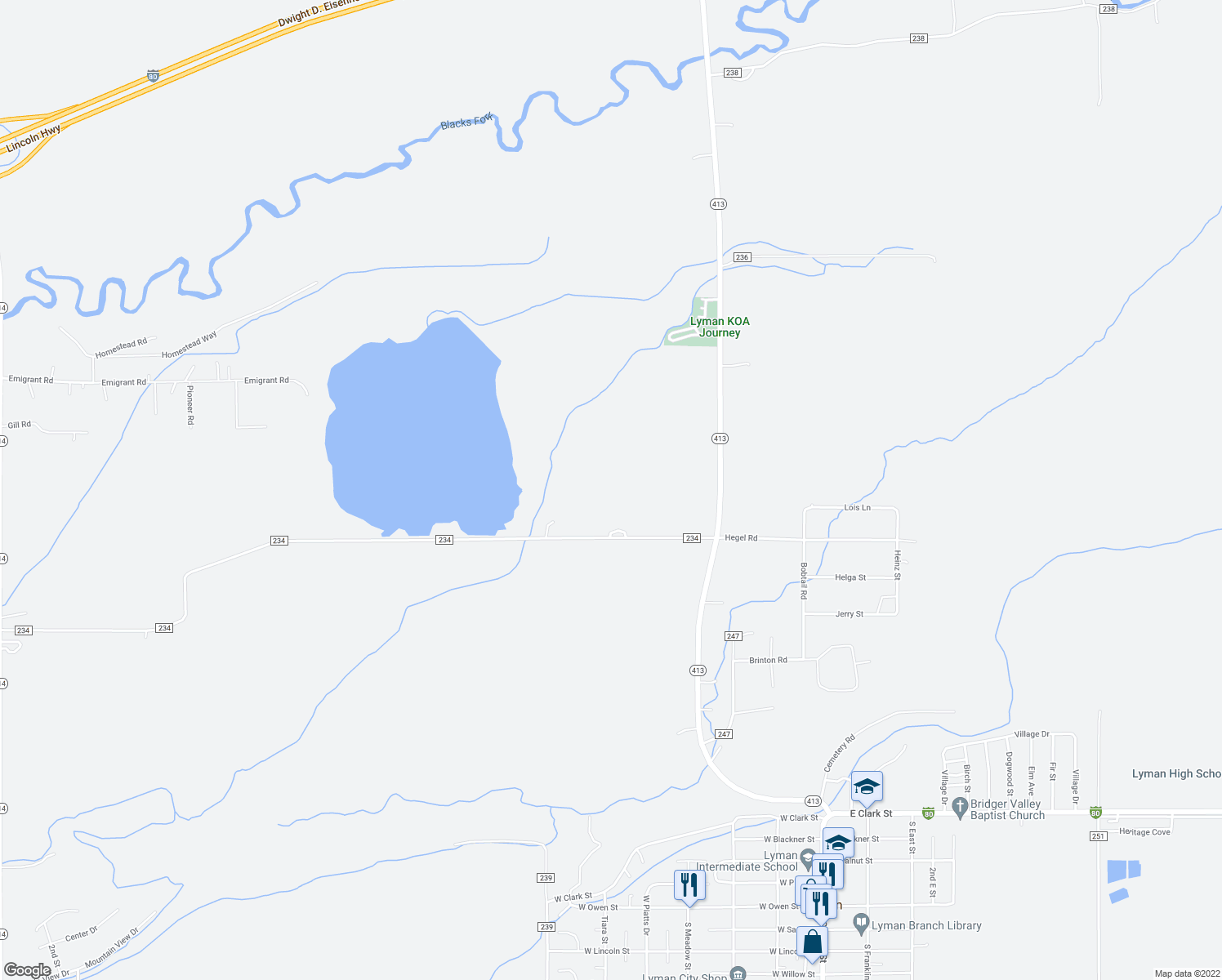 map of restaurants, bars, coffee shops, grocery stores, and more near County Road 234 in Lyman