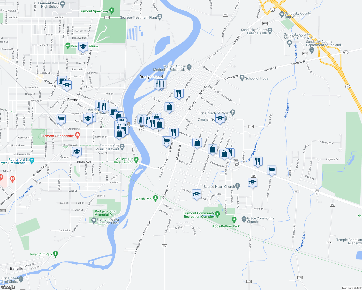 map of restaurants, bars, coffee shops, grocery stores, and more near 701 East State Street in Fremont