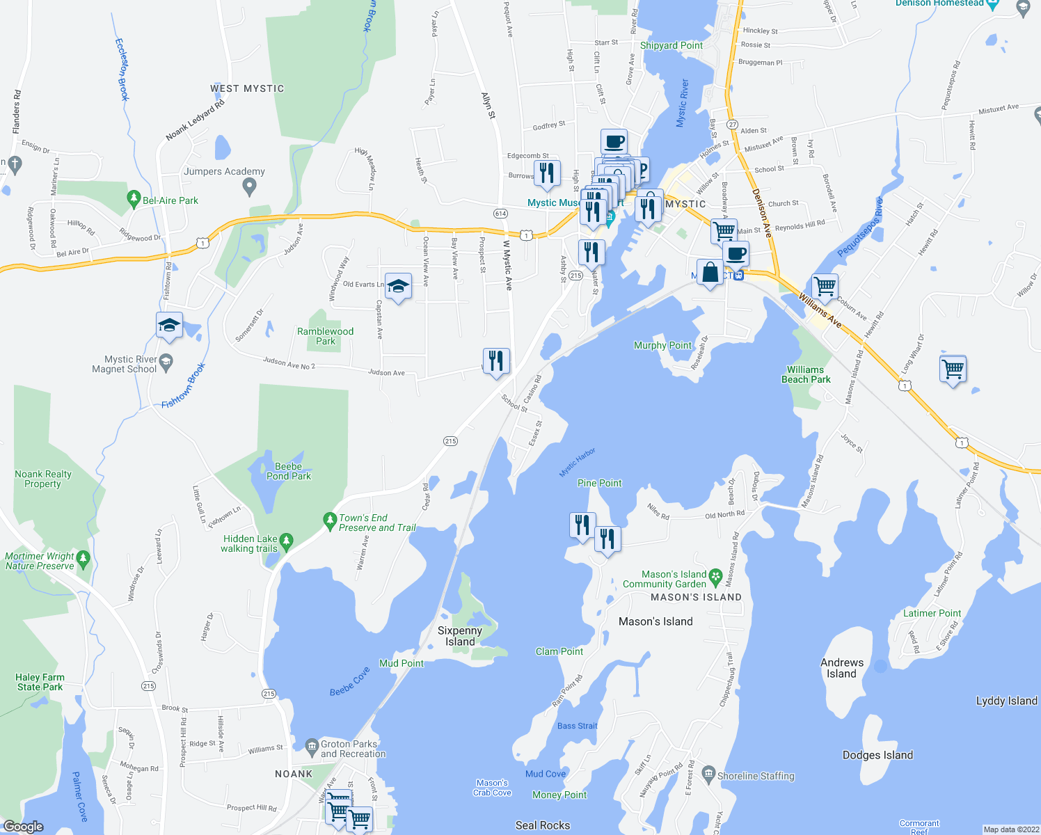 map of restaurants, bars, coffee shops, grocery stores, and more near 18 Maxson Street in Groton