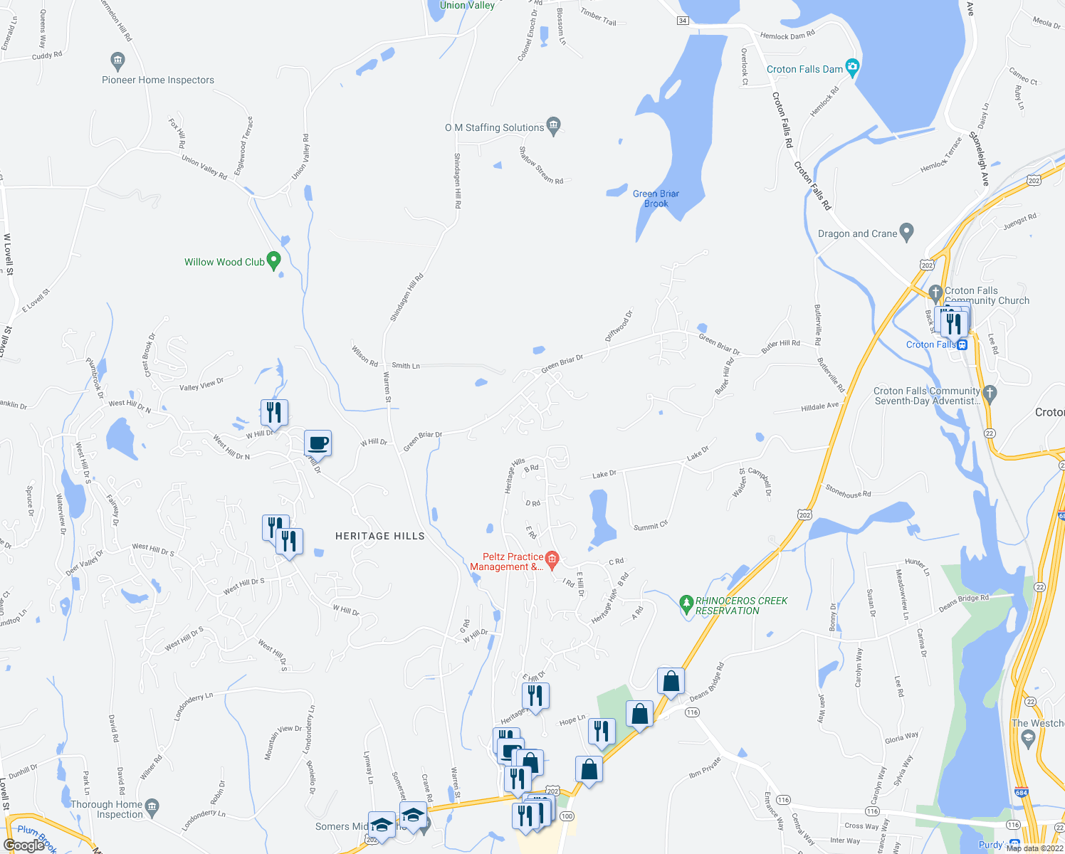 map of restaurants, bars, coffee shops, grocery stores, and more near 96 Mitchell Road in Heritage Hills