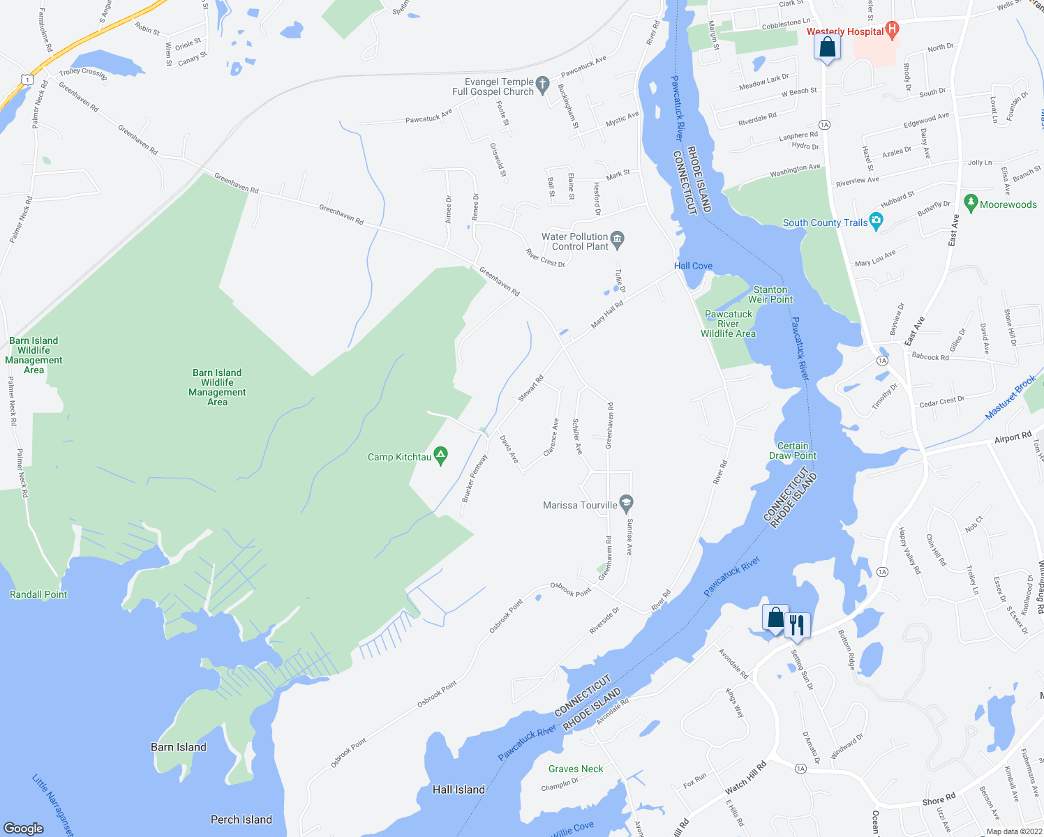 map of restaurants, bars, coffee shops, grocery stores, and more near 55 Stewart Road in Stonington