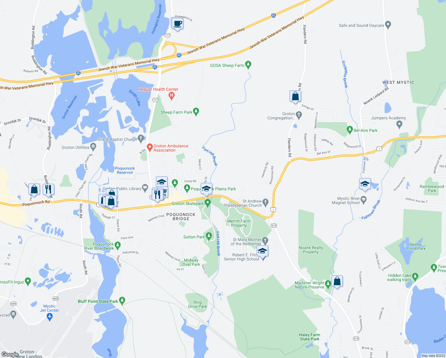 map of restaurants, bars, coffee shops, grocery stores, and more near 214 Fort Hill Road in Groton