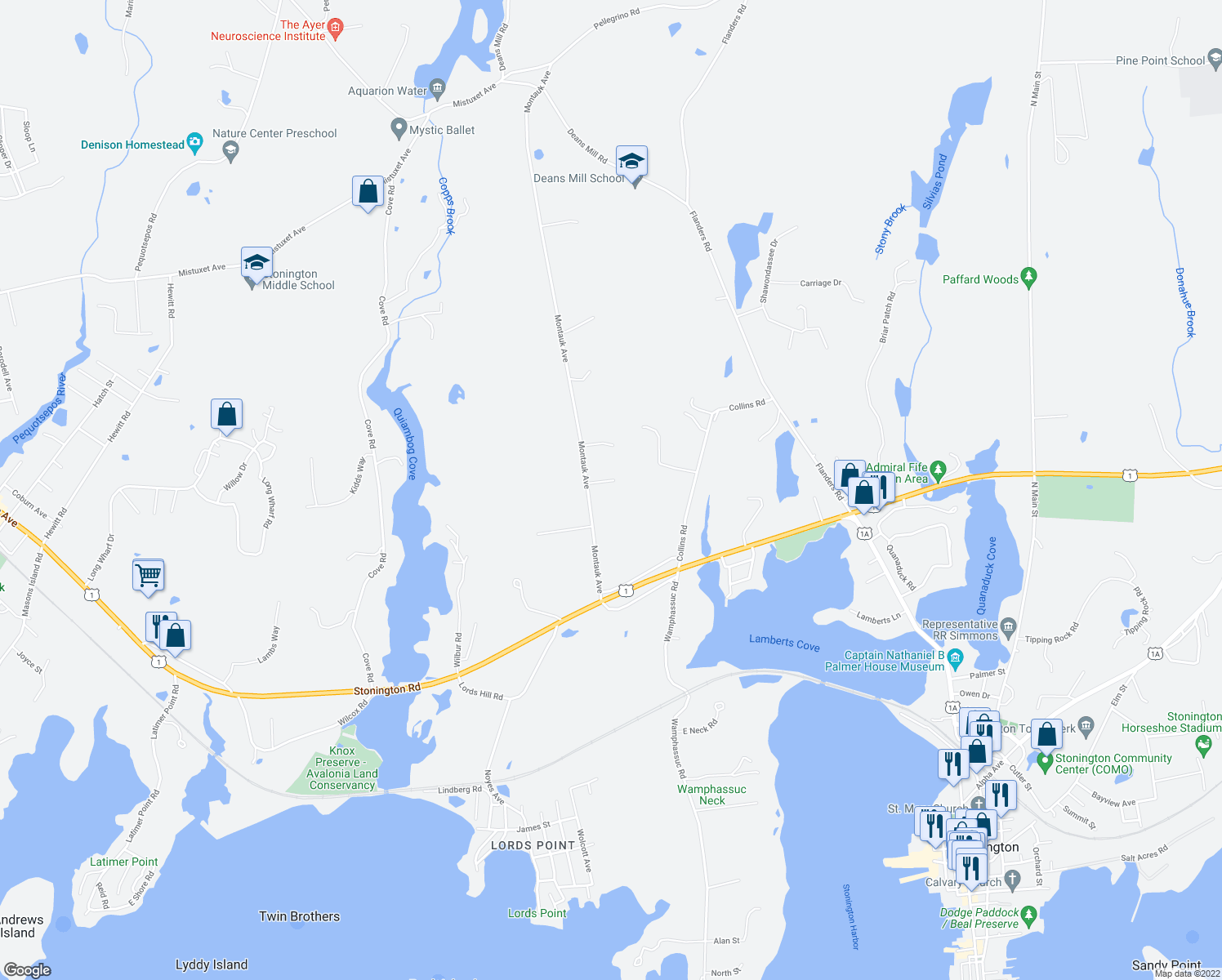 map of restaurants, bars, coffee shops, grocery stores, and more near 14 Findlay Way in Stonington