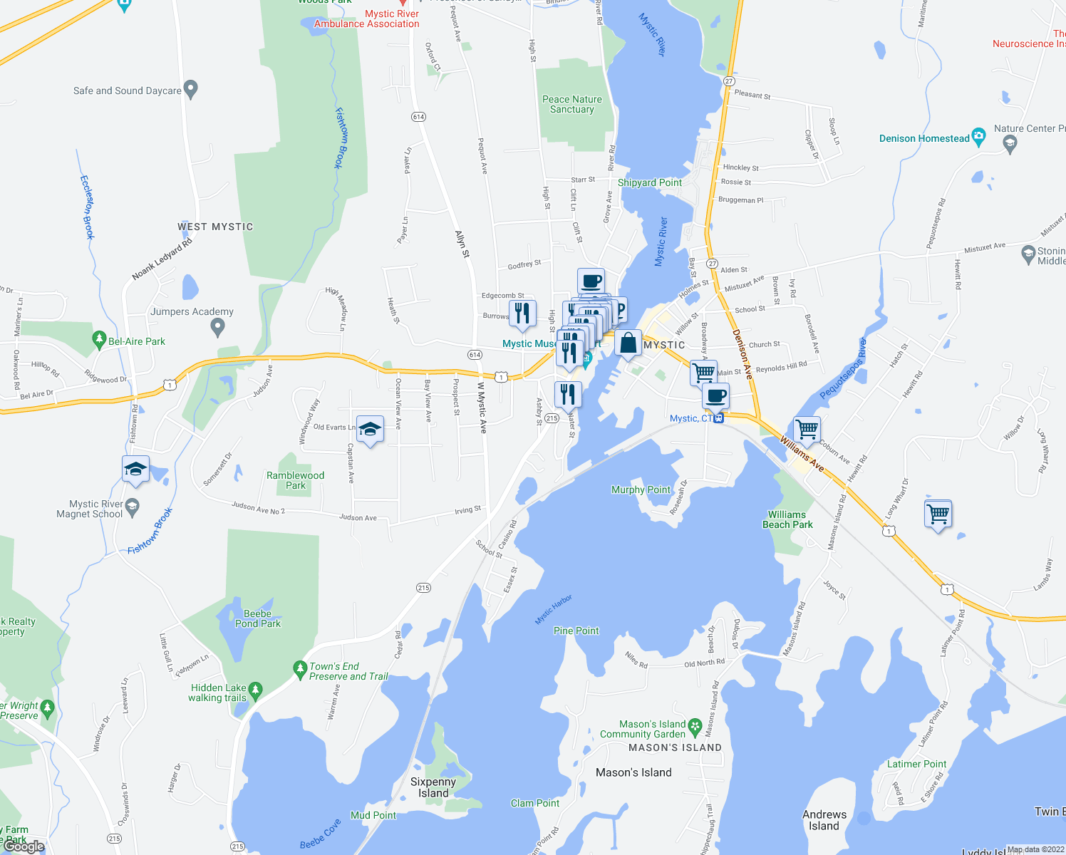 map of restaurants, bars, coffee shops, grocery stores, and more near 5 Ashby Street in Mystic