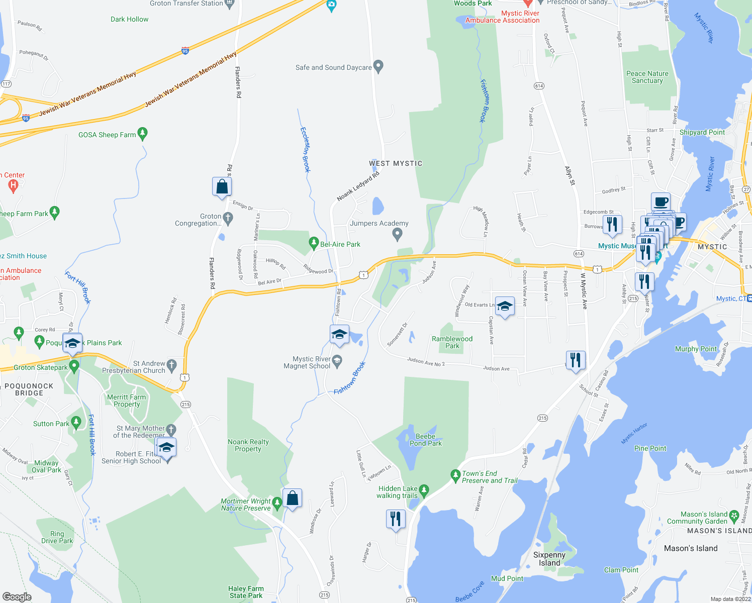 map of restaurants, bars, coffee shops, grocery stores, and more near 88 Farmstead Avenue in Groton