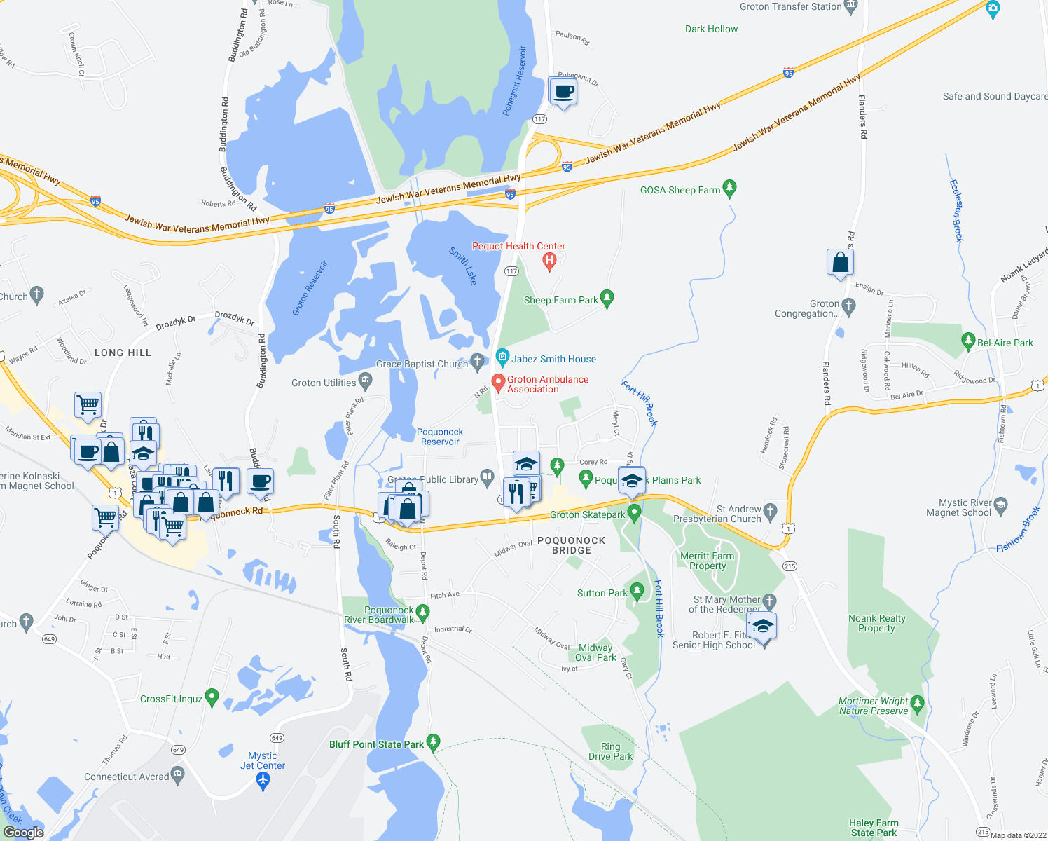 map of restaurants, bars, coffee shops, grocery stores, and more near 145 Indian Field Road in Groton