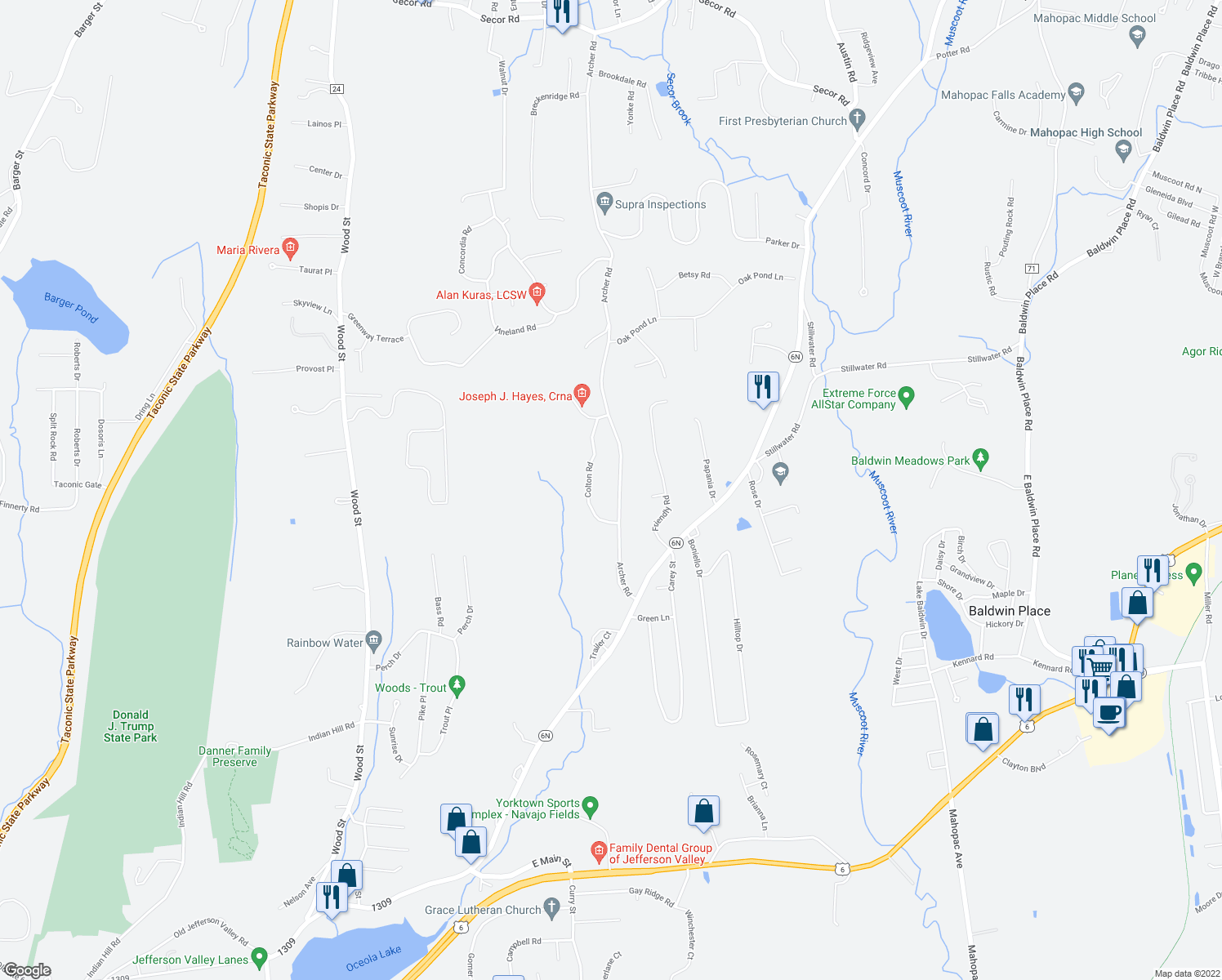 map of restaurants, bars, coffee shops, grocery stores, and more near 61 Archer Road in Mahopac