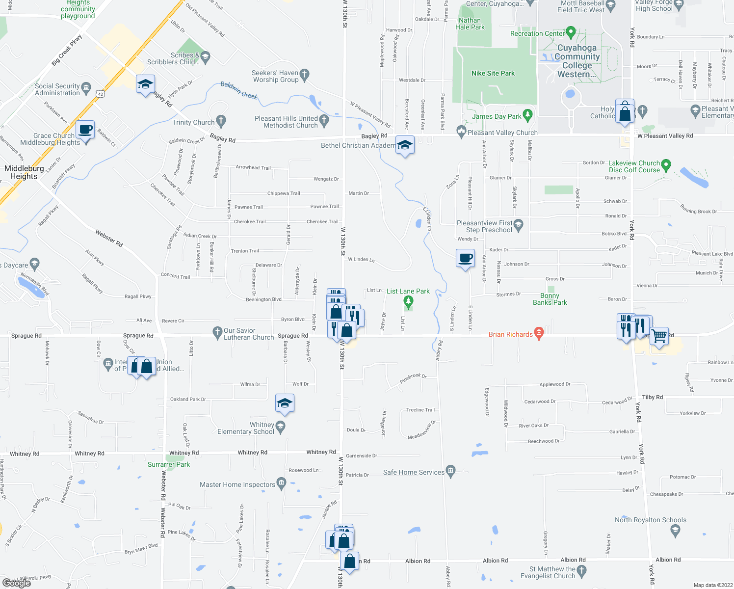 map of restaurants, bars, coffee shops, grocery stores, and more near 7841 W List Ln in Parma