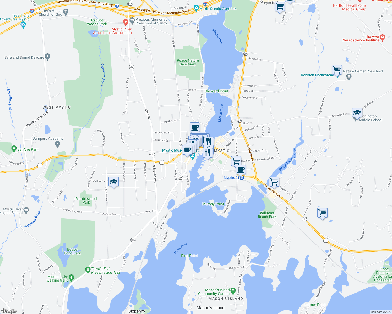 map of restaurants, bars, coffee shops, grocery stores, and more near 51 Steamboat Wharf in Groton
