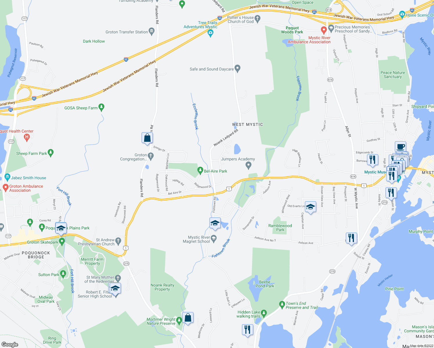 map of restaurants, bars, coffee shops, grocery stores, and more near Daniel Brown Drive in Groton