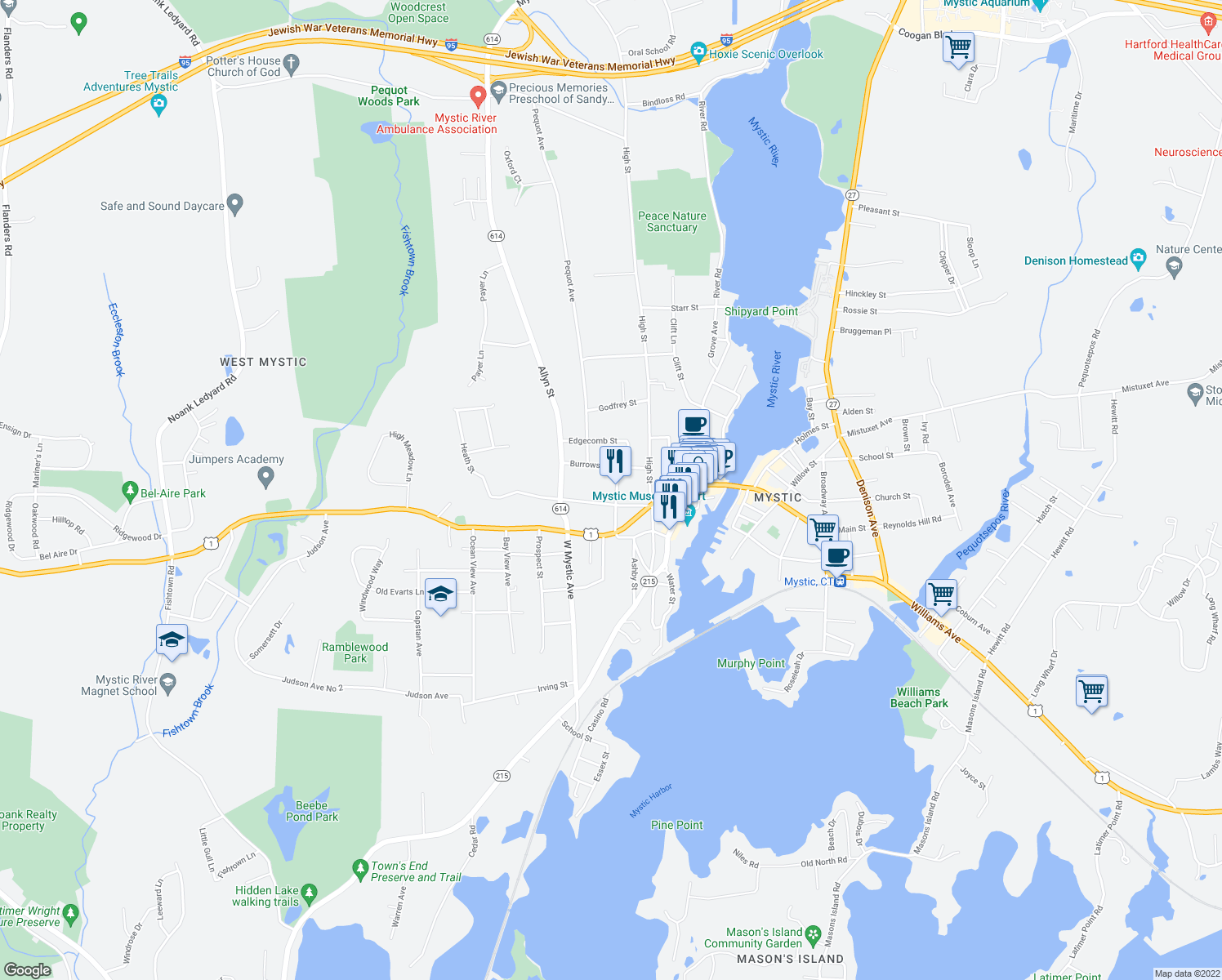 map of restaurants, bars, coffee shops, grocery stores, and more near 15 Elm Street in Groton