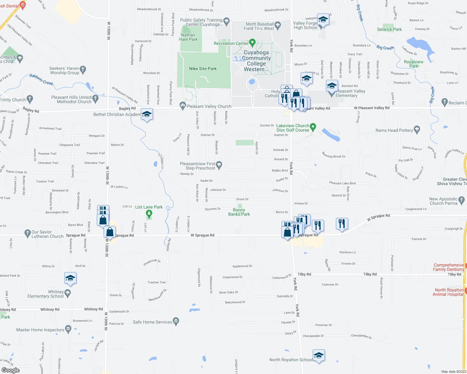 map of restaurants, bars, coffee shops, grocery stores, and more near 11480 Johnson Drive in Parma