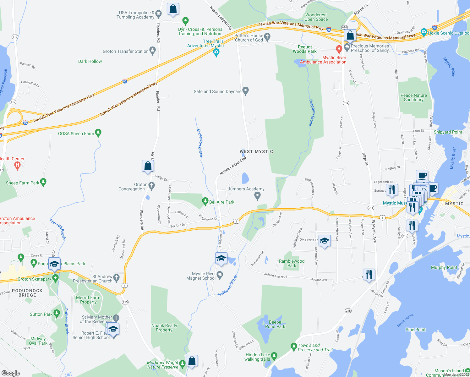 map of restaurants, bars, coffee shops, grocery stores, and more near 145 Daniel Brown Drive in Groton