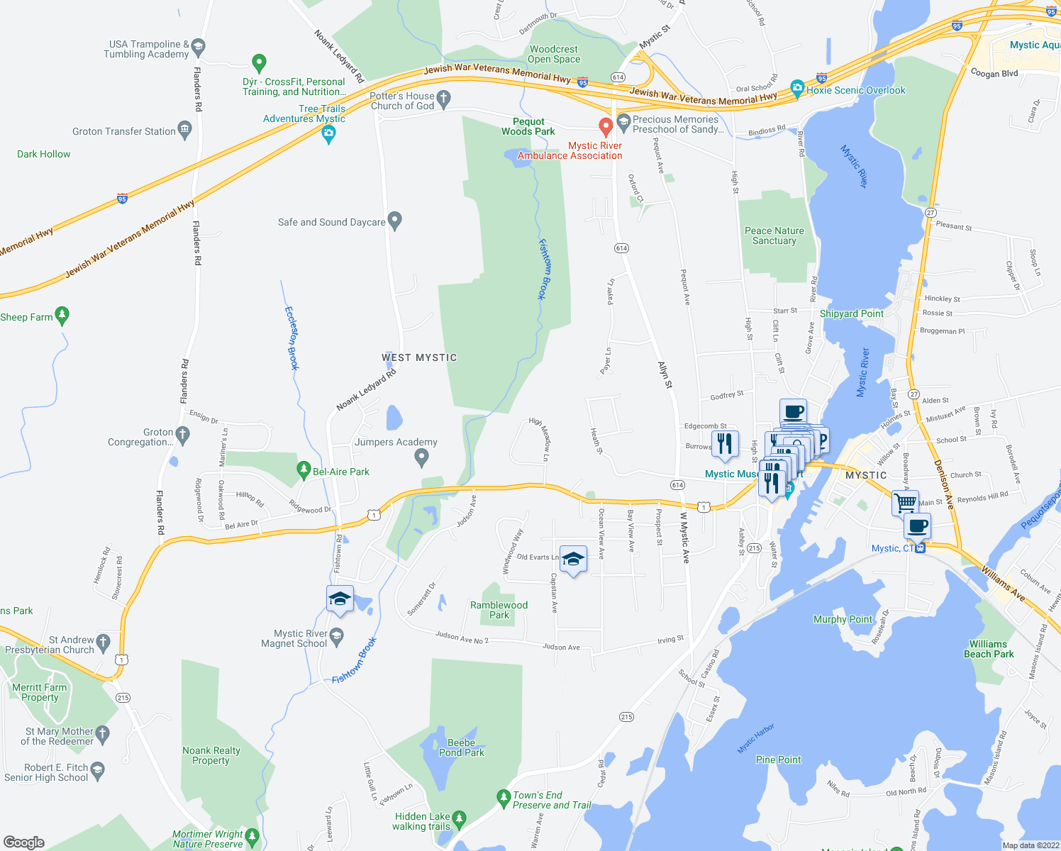map of restaurants, bars, coffee shops, grocery stores, and more near 119 High Meadow Lane in Groton