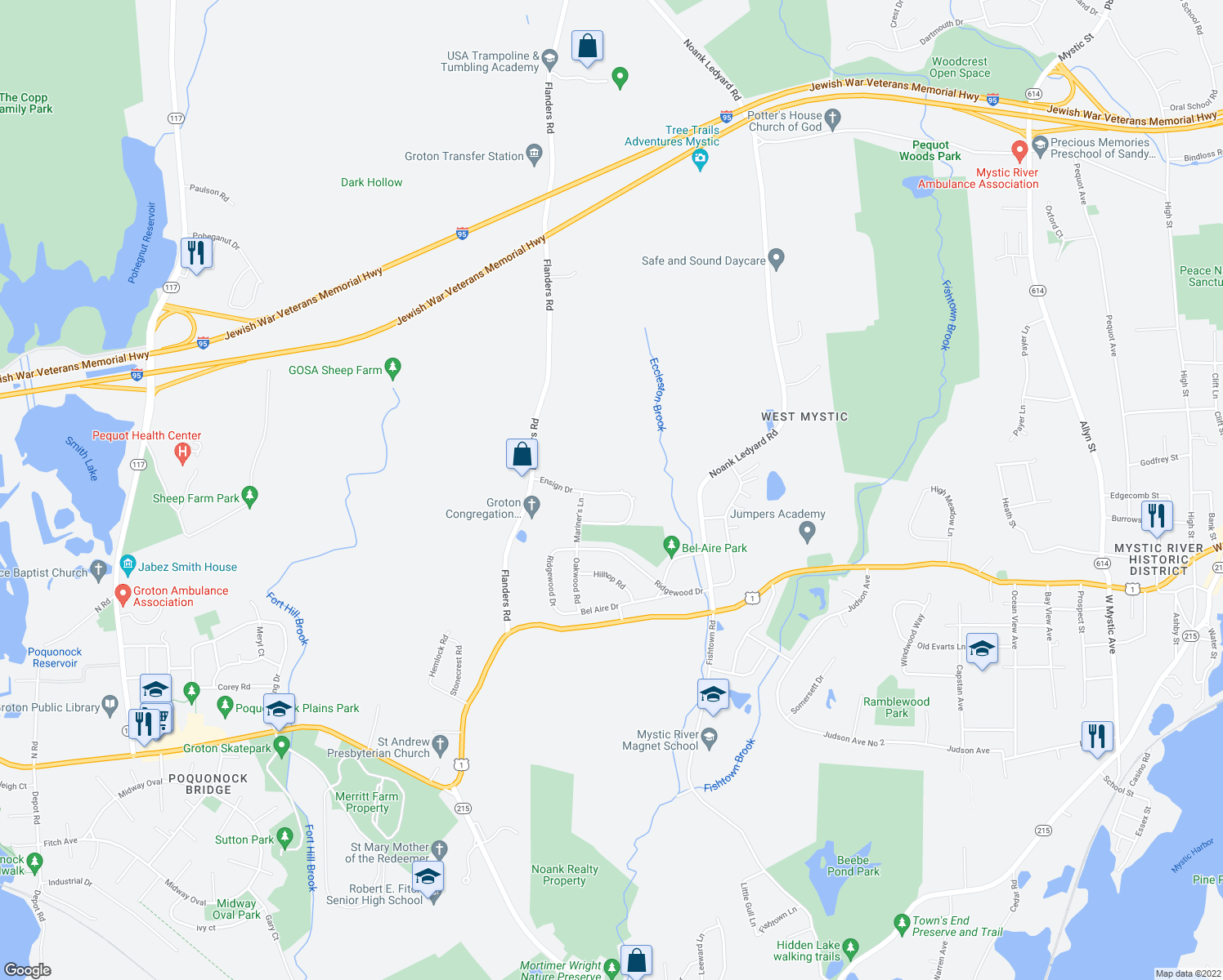 map of restaurants, bars, coffee shops, grocery stores, and more near 118 Ensign Drive in Groton