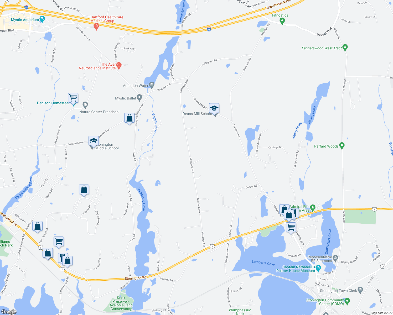 map of restaurants, bars, coffee shops, grocery stores, and more near 17 Bittersweet Way in Stonington