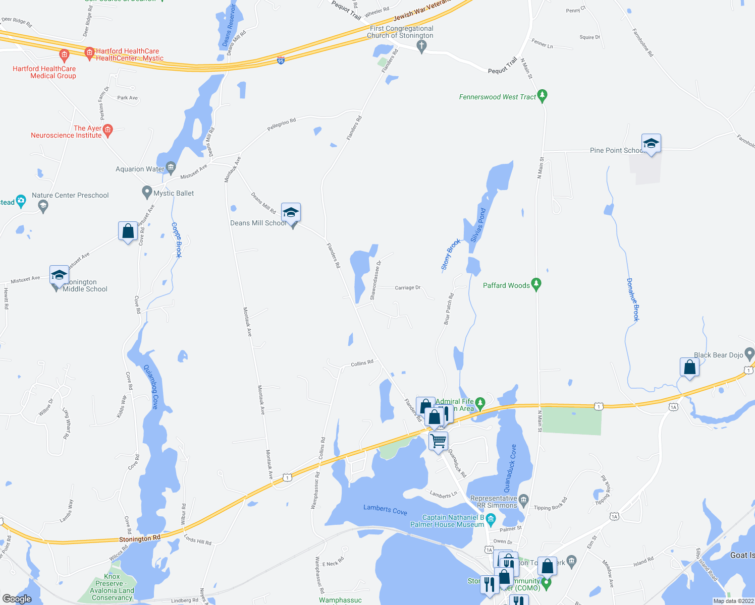 map of restaurants, bars, coffee shops, grocery stores, and more near 8 Shawondassee Drive in Stonington