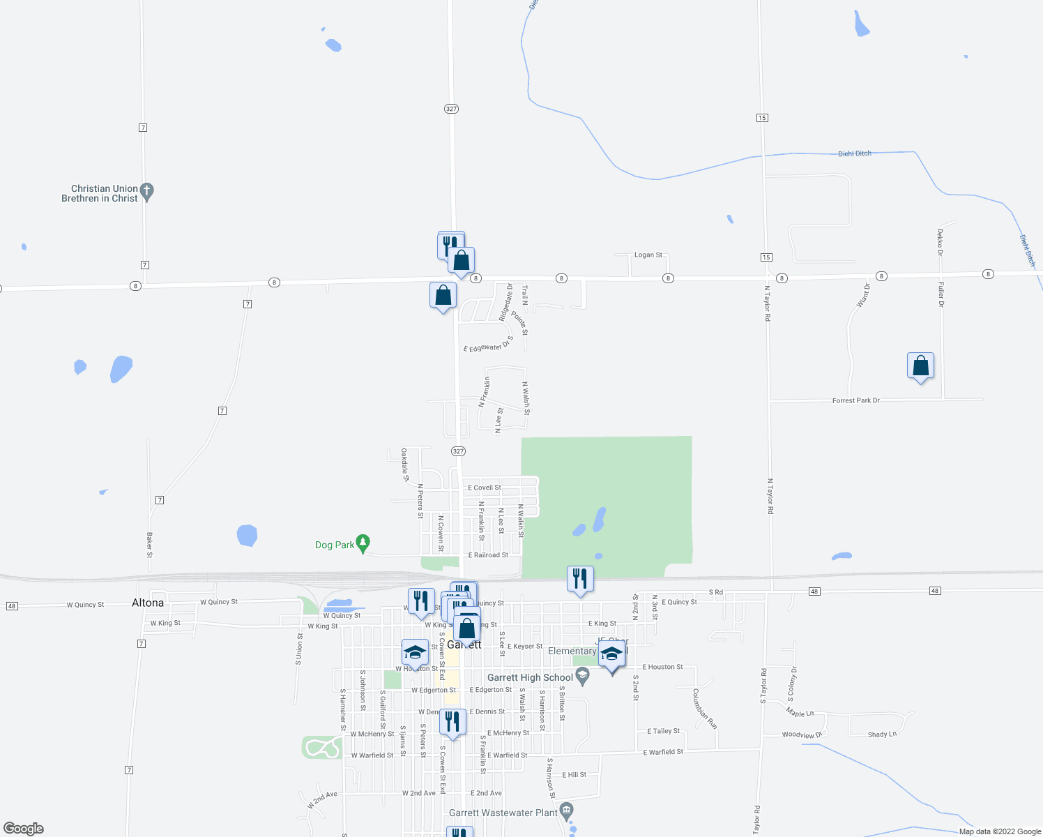 map of restaurants, bars, coffee shops, grocery stores, and more near 1010 North Walsh Street in Garrett