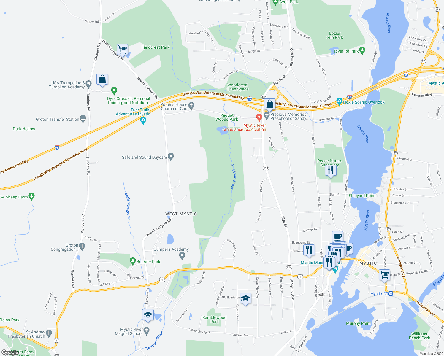map of restaurants, bars, coffee shops, grocery stores, and more near in New London County