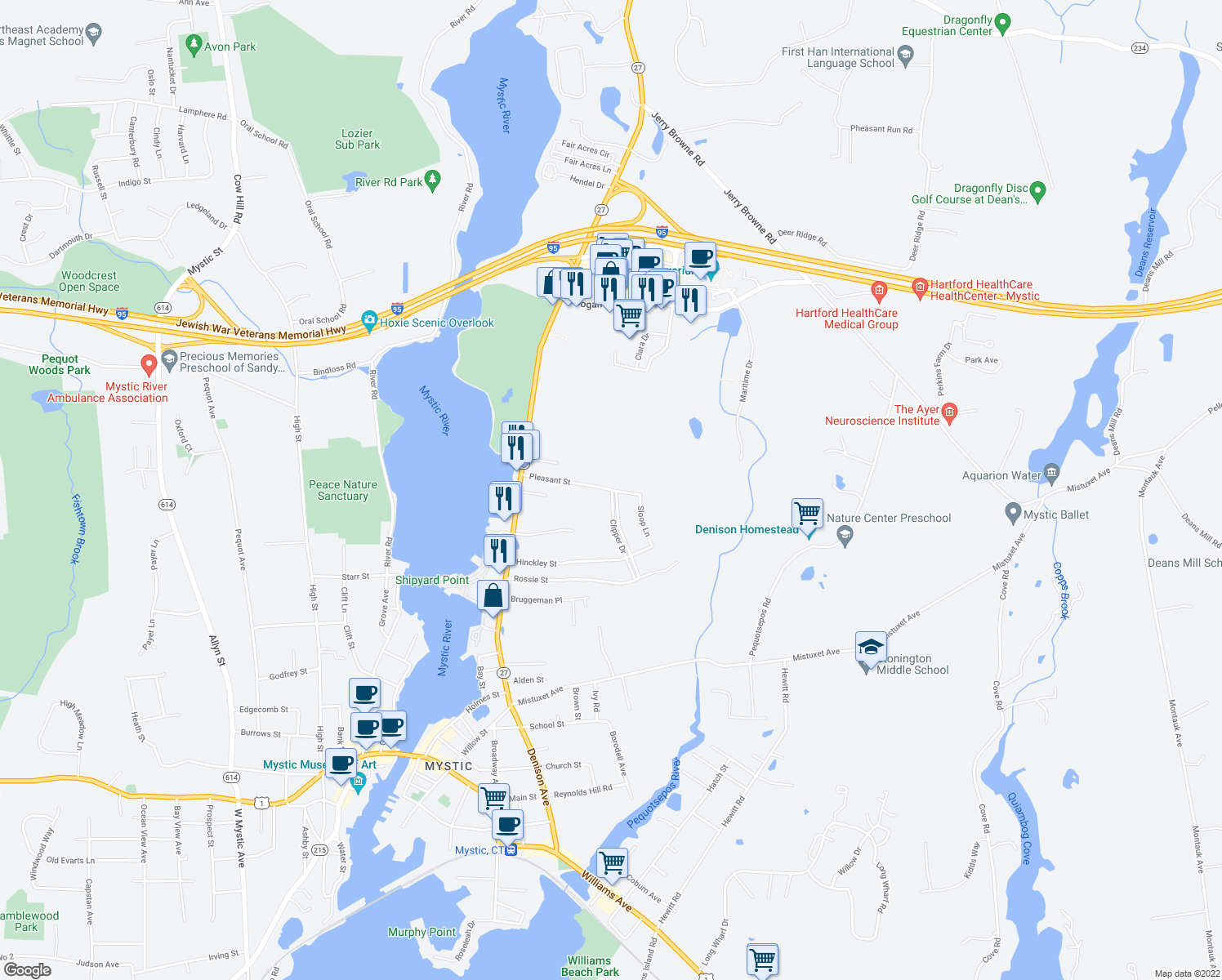 map of restaurants, bars, coffee shops, grocery stores, and more near 145 Pleasant Street in Stonington