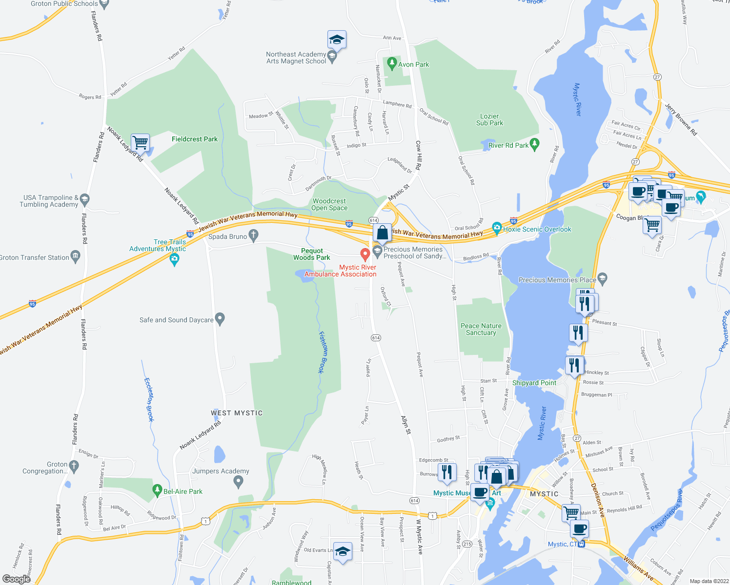 map of restaurants, bars, coffee shops, grocery stores, and more near 11 Stony Hill Road in Groton