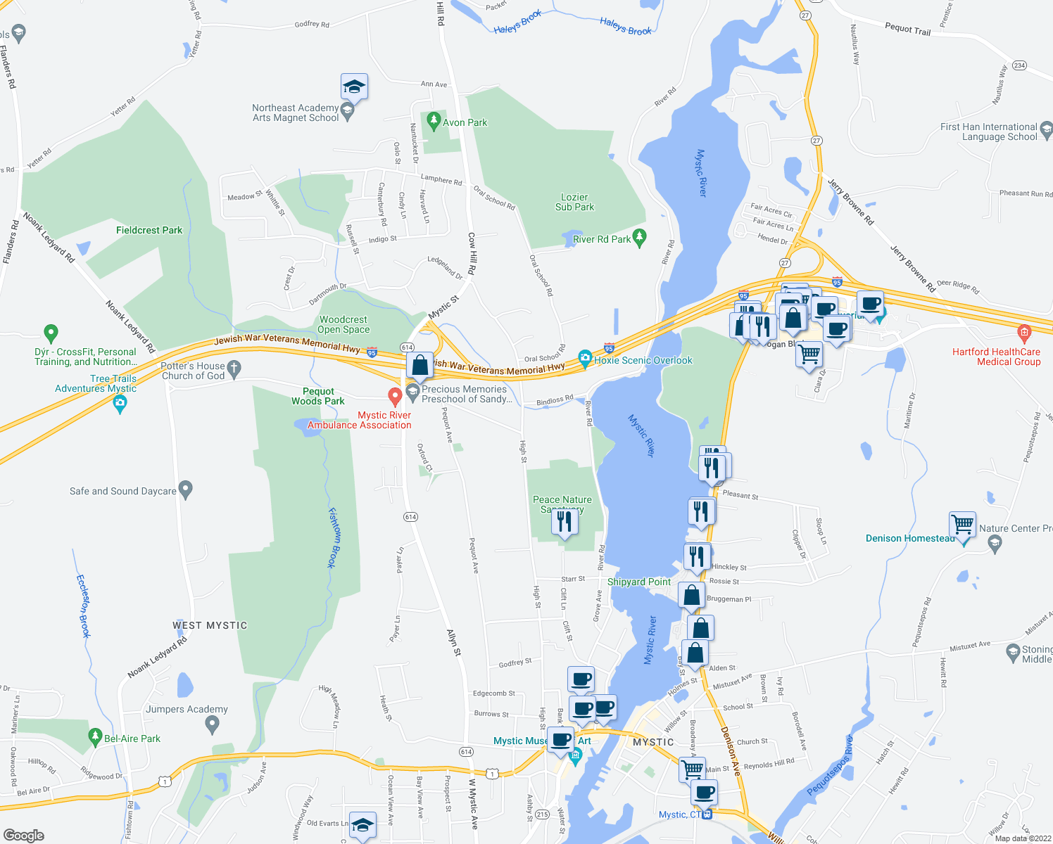 map of restaurants, bars, coffee shops, grocery stores, and more near 18 Cow Hill Road in Mystic
