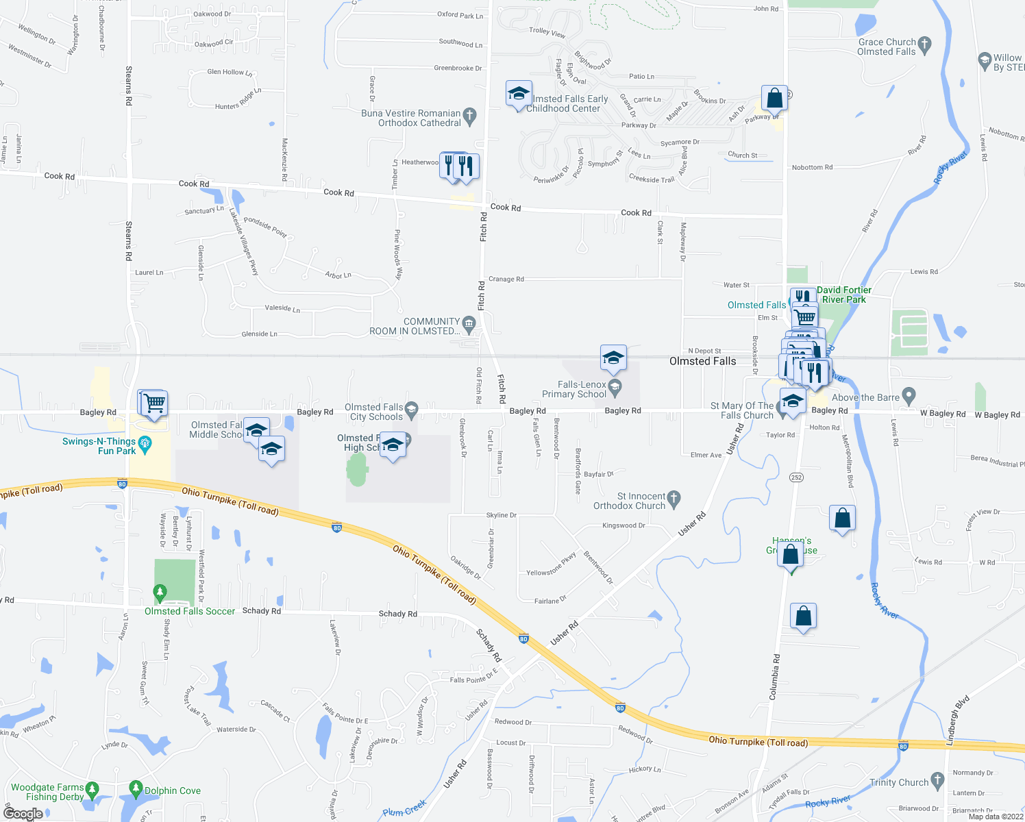 map of restaurants, bars, coffee shops, grocery stores, and more near Bagley Road in Olmsted Falls