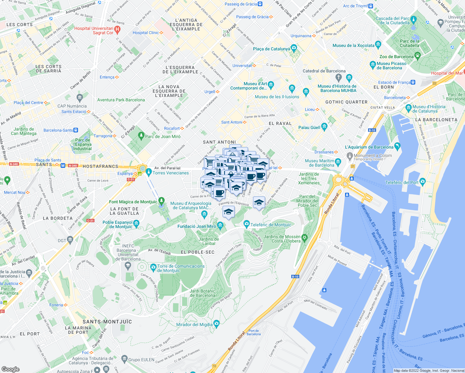 map of restaurants, bars, coffee shops, grocery stores, and more near in Barcelona