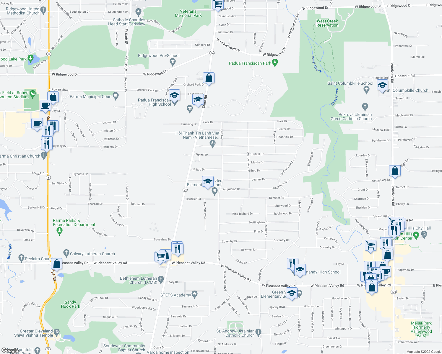 map of restaurants, bars, coffee shops, grocery stores, and more near 3520 Jeanne Drive in Parma