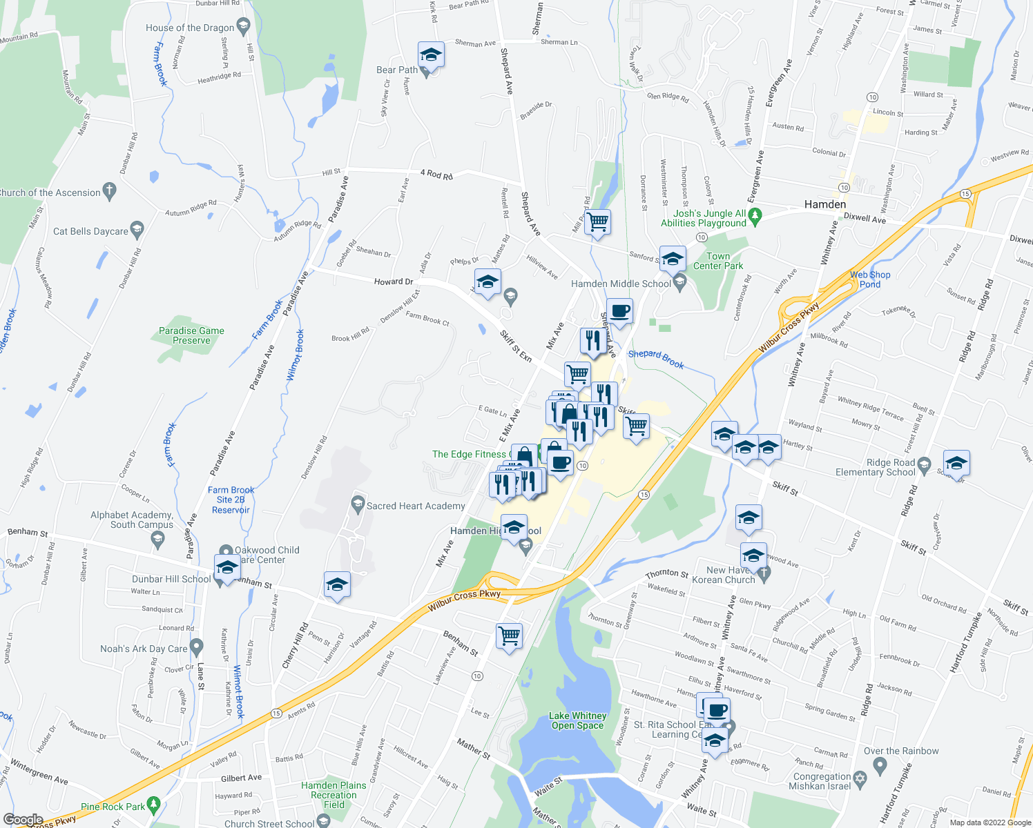 map of restaurants, bars, coffee shops, grocery stores, and more near 783 East Mix Avenue in Hamden