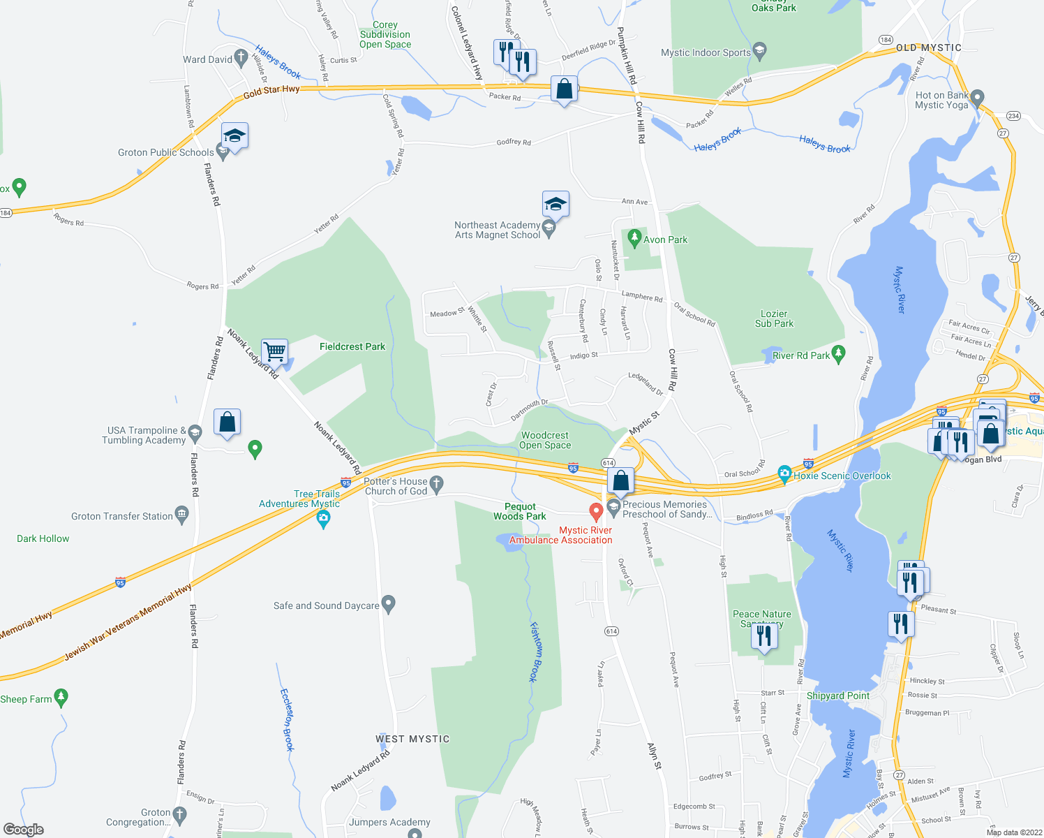 map of restaurants, bars, coffee shops, grocery stores, and more near 87 Dartmouth Dr in Mystic