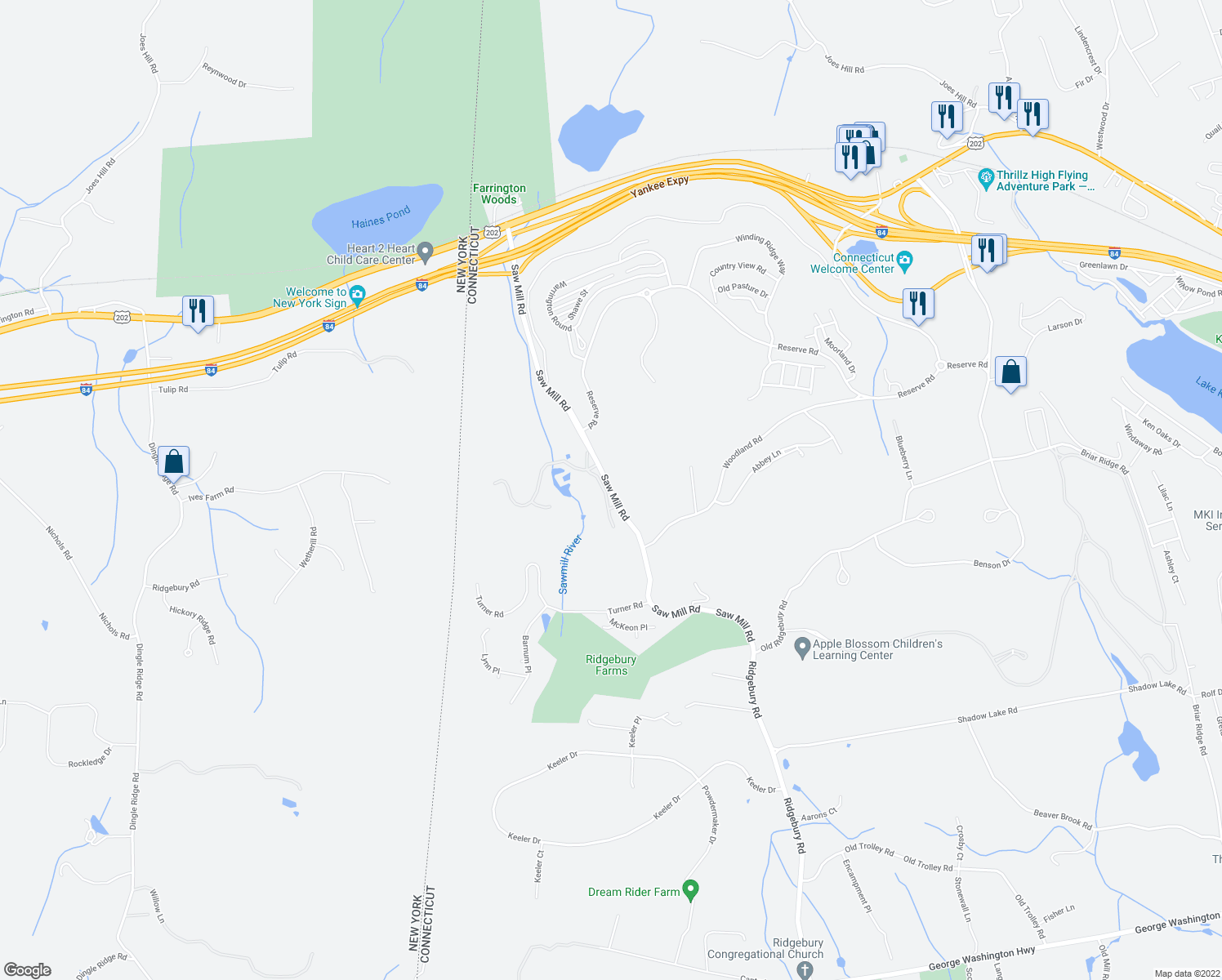 map of restaurants, bars, coffee shops, grocery stores, and more near 127-147 Saw Mill Road in Danbury