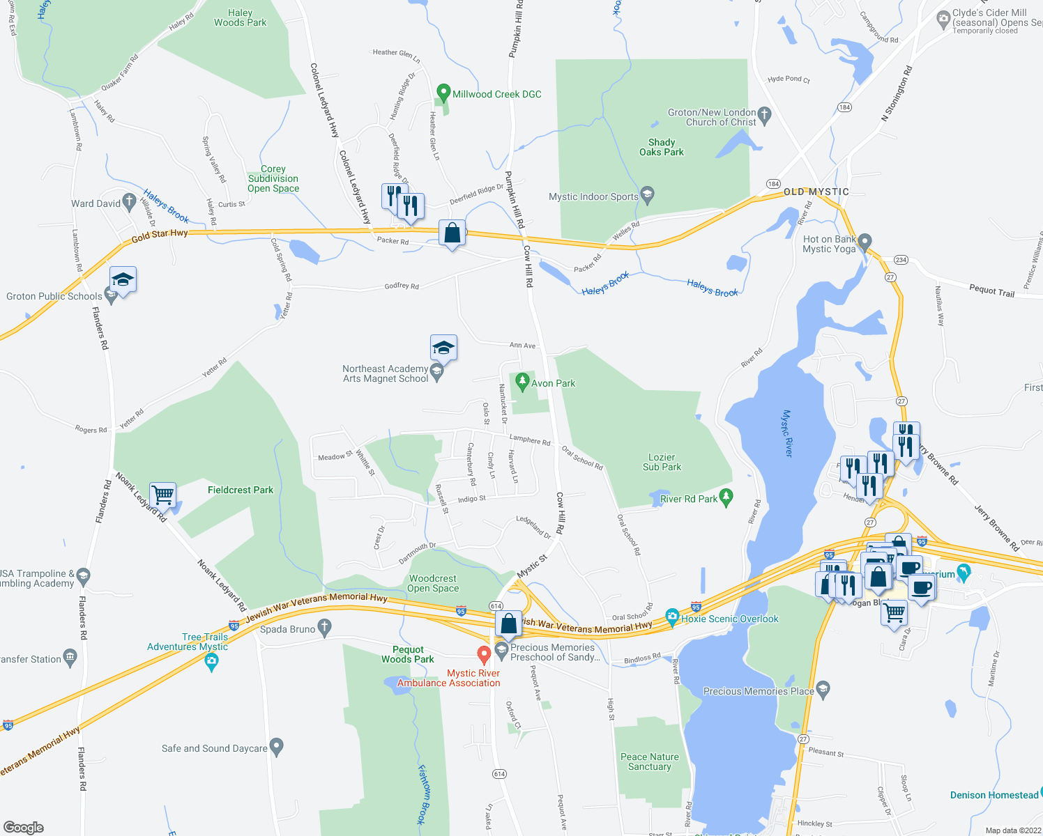 map of restaurants, bars, coffee shops, grocery stores, and more near 45 Lamphere Road in Groton