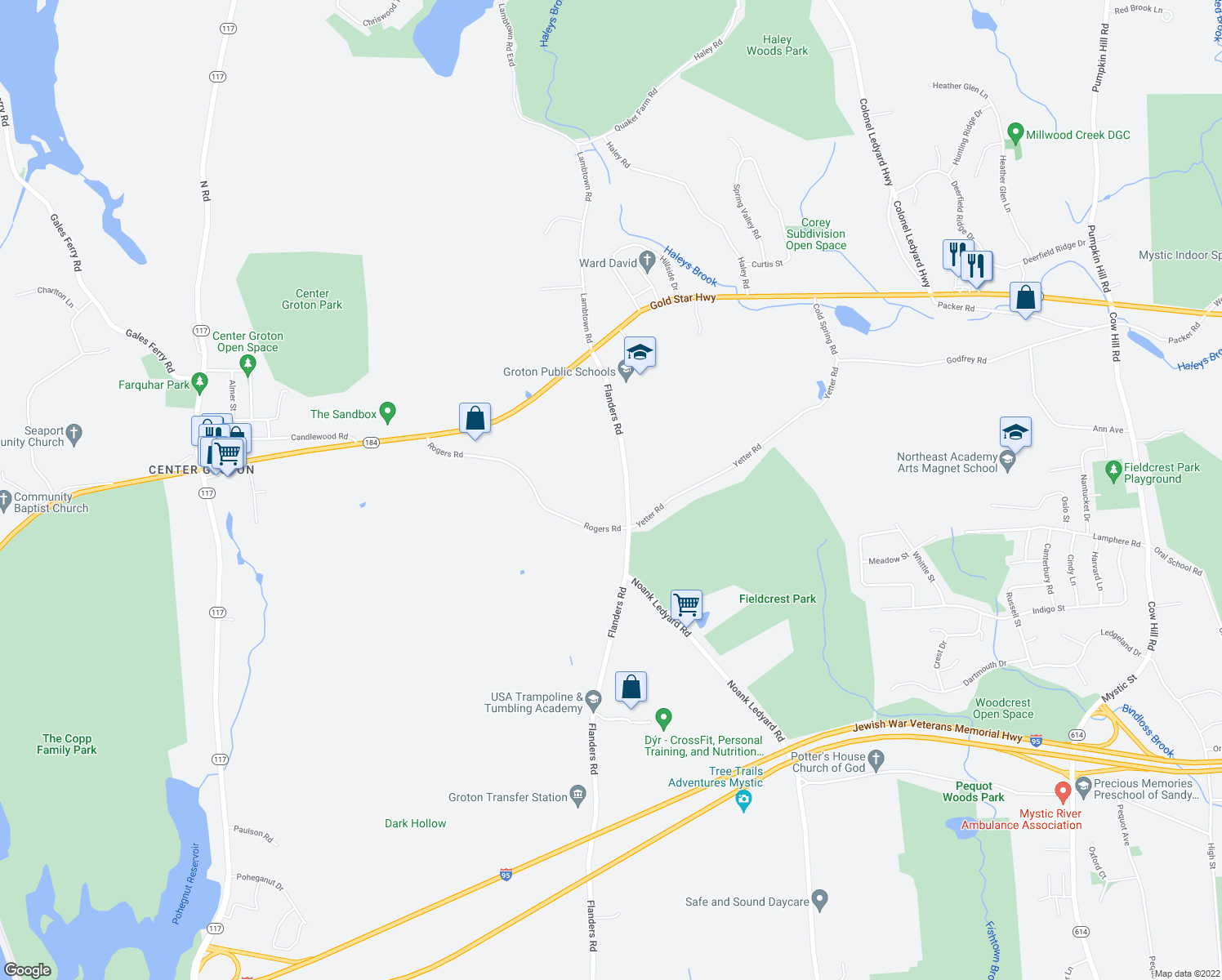 map of restaurants, bars, coffee shops, grocery stores, and more near 1135 Flanders Road in Groton