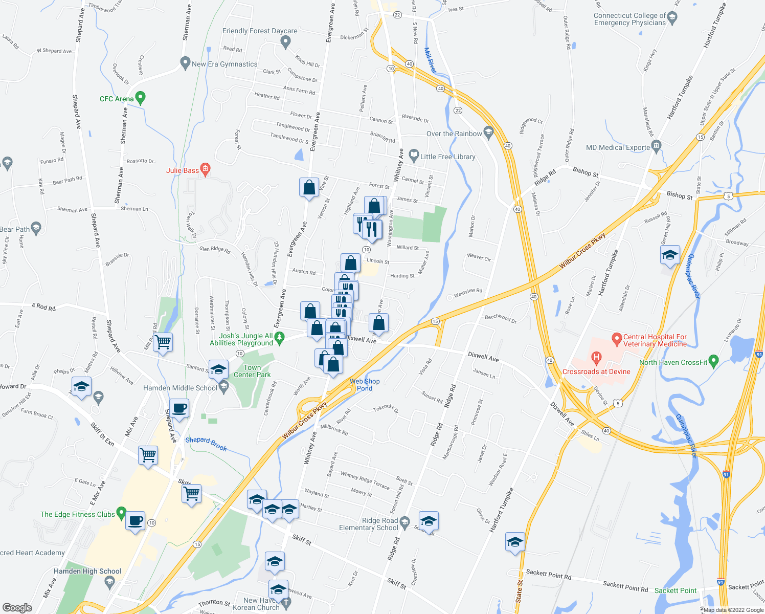 map of restaurants, bars, coffee shops, grocery stores, and more near 75 Washington Avenue in Hamden