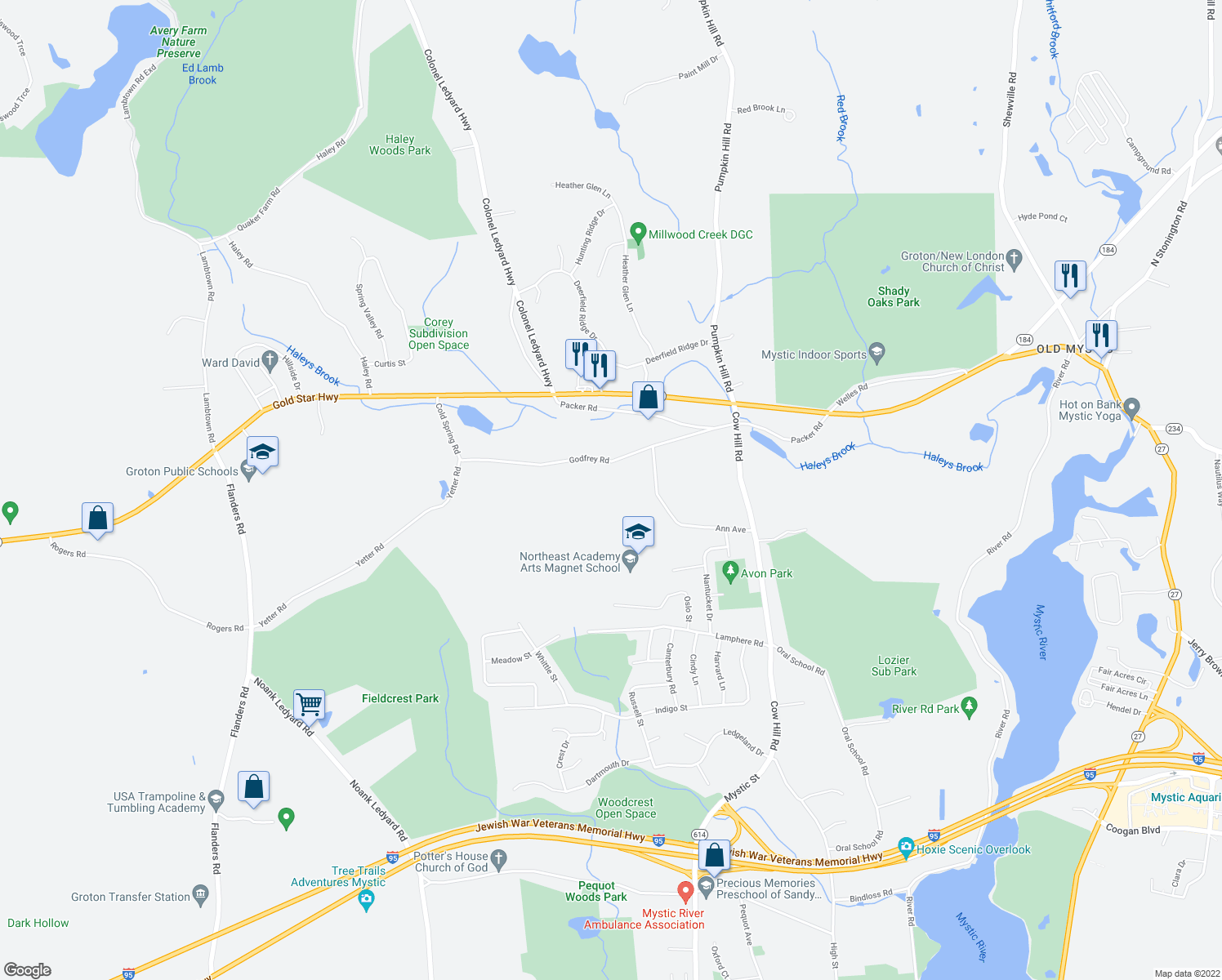 map of restaurants, bars, coffee shops, grocery stores, and more near 193 Godfrey Road in Groton