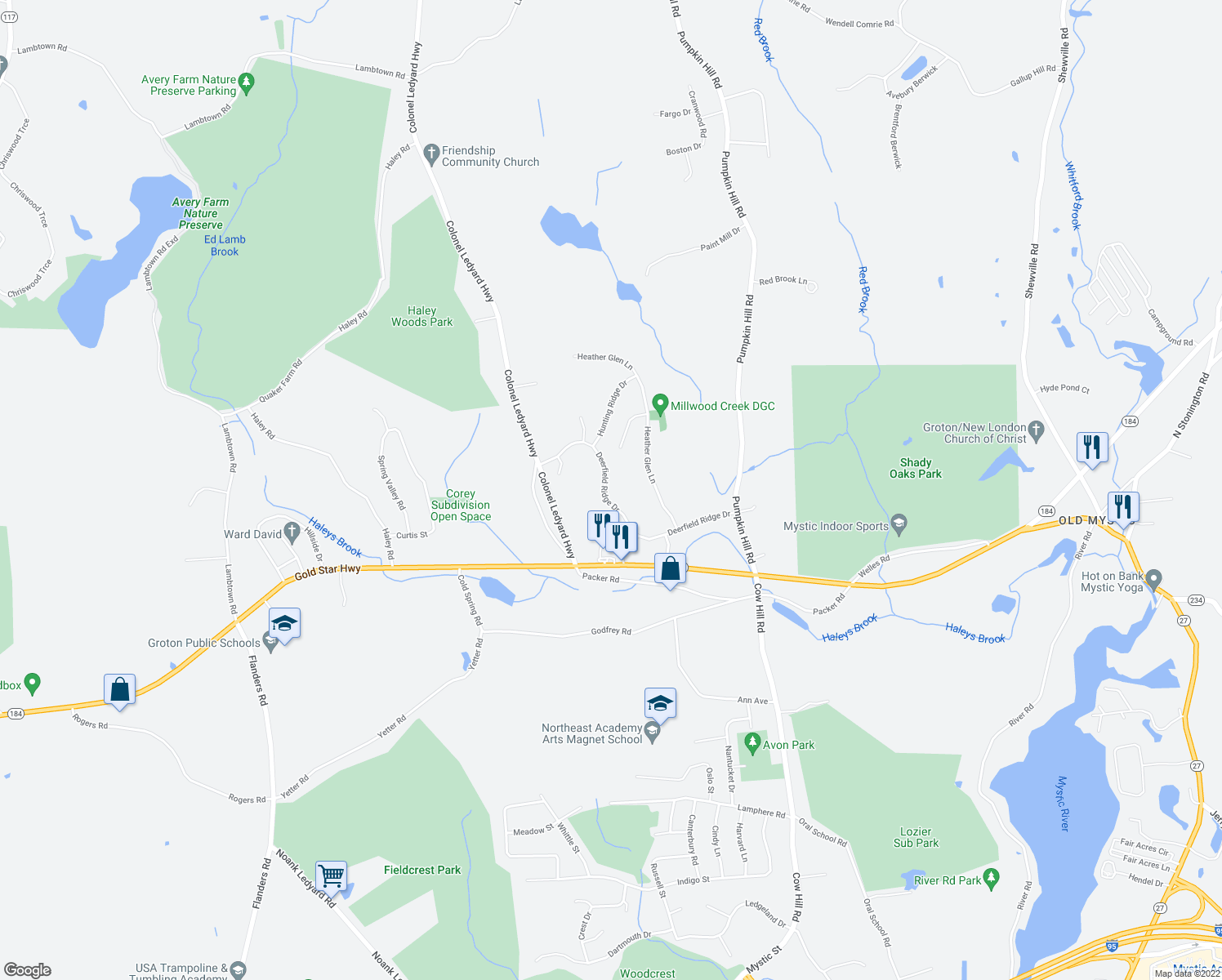 map of restaurants, bars, coffee shops, grocery stores, and more near 218 Deerfield Ridge Drive in Groton