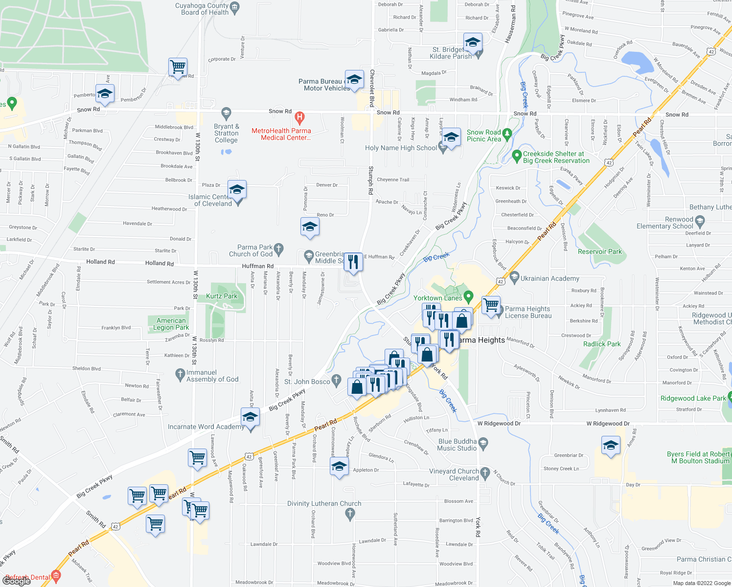 map of restaurants, bars, coffee shops, grocery stores, and more near 6267 Stumph Road in Parma Heights