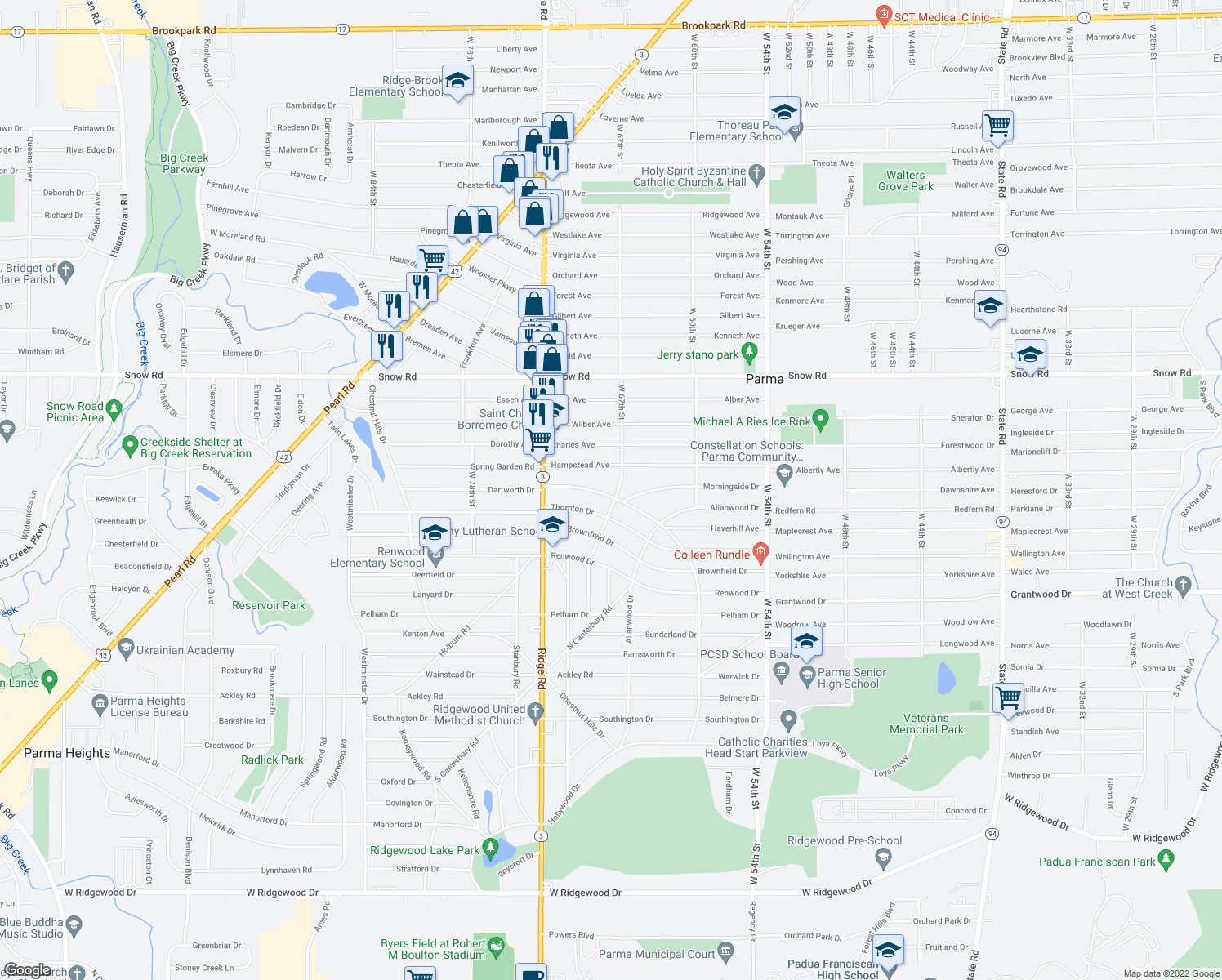 map of restaurants, bars, coffee shops, grocery stores, and more near 6714 Dartworth Drive in Parma