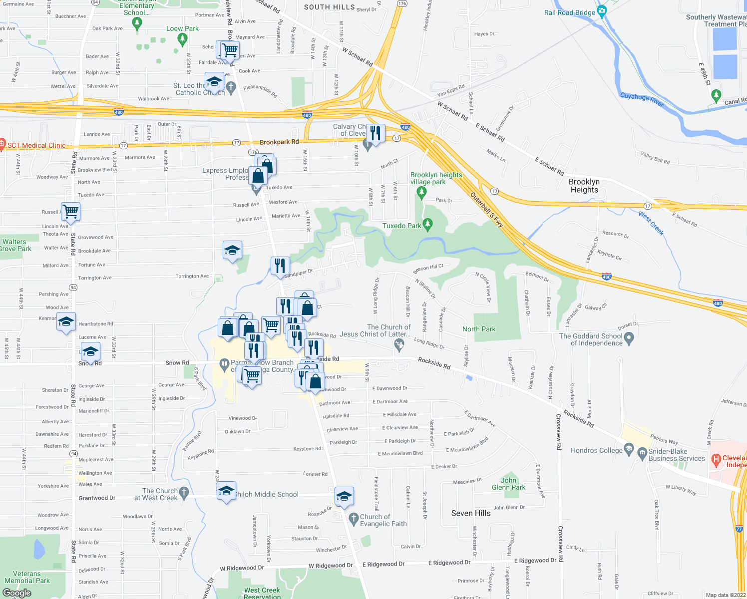 map of restaurants, bars, coffee shops, grocery stores, and more near 5650 West Longridge Drive in Seven Hills
