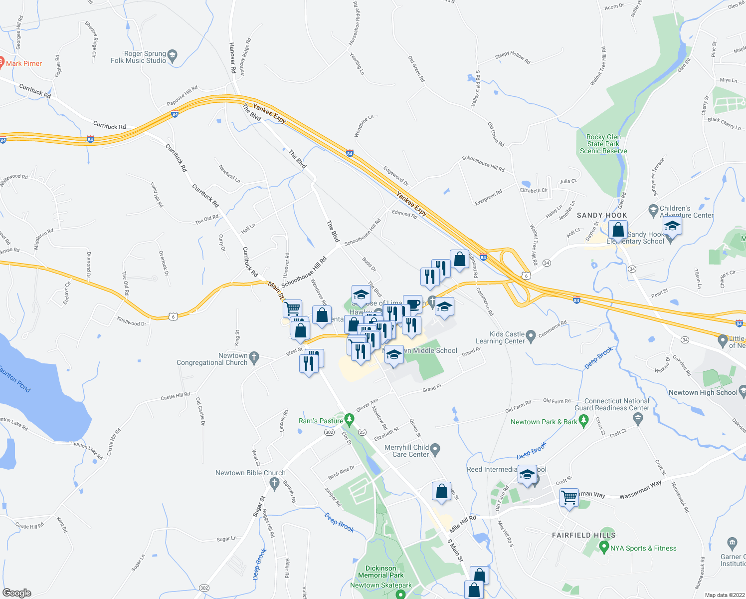 map of restaurants, bars, coffee shops, grocery stores, and more near 11 Boulevard in Newtown