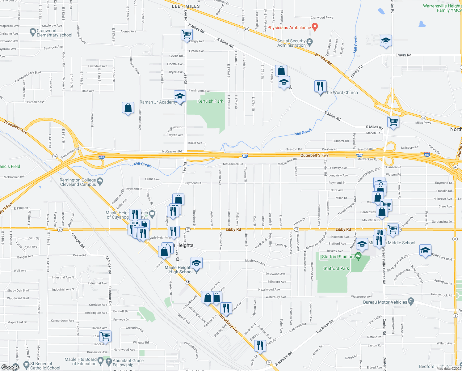 map of restaurants, bars, coffee shops, grocery stores, and more near 5105 Catherine Street in Maple Heights