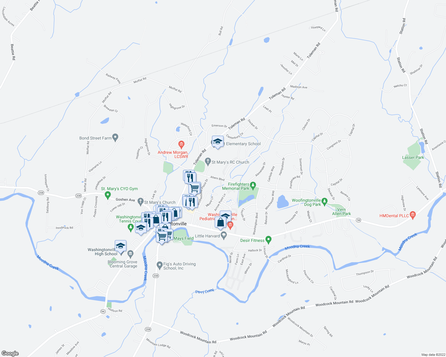 map of restaurants, bars, coffee shops, grocery stores, and more near Stone Hill Road in Washingtonville