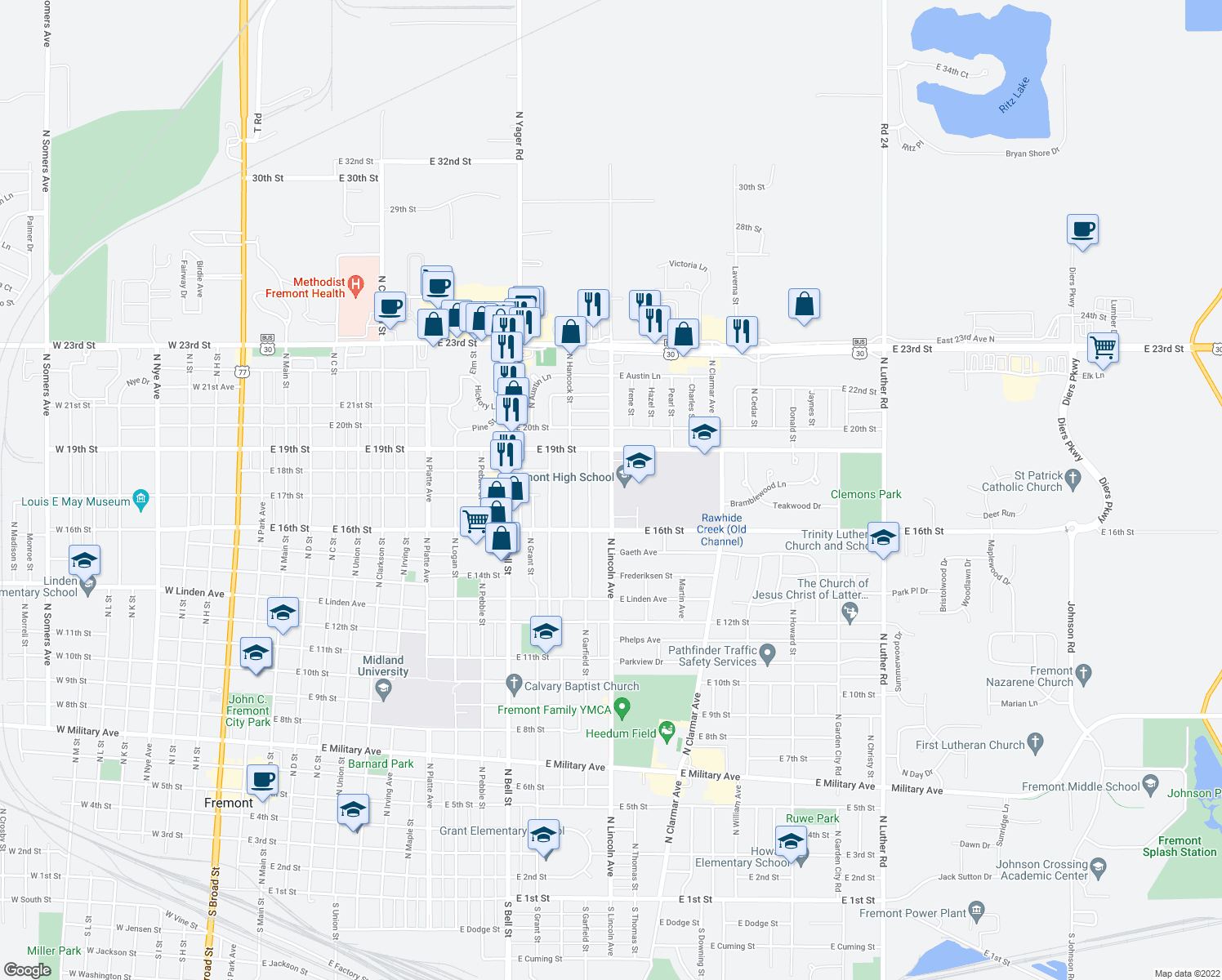 map of restaurants, bars, coffee shops, grocery stores, and more near 1633 North Lincoln Avenue in Fremont