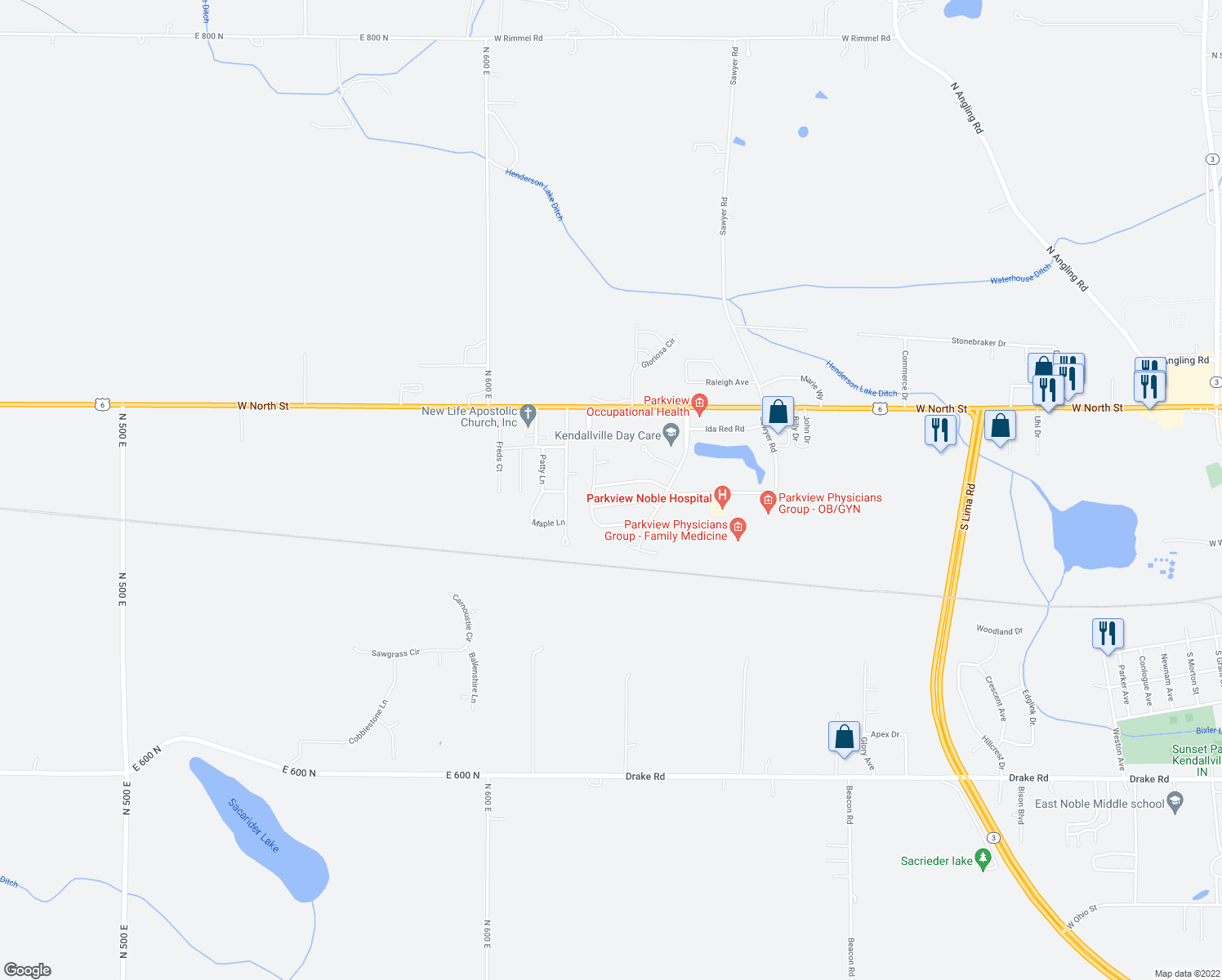 map of restaurants, bars, coffee shops, grocery stores, and more near 2023 Jonathan Street in Kendallville
