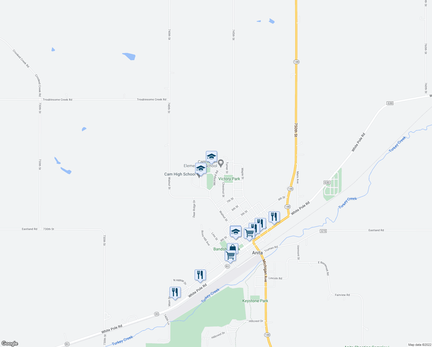 map of restaurants, bars, coffee shops, grocery stores, and more near McIntyre Road in Anita