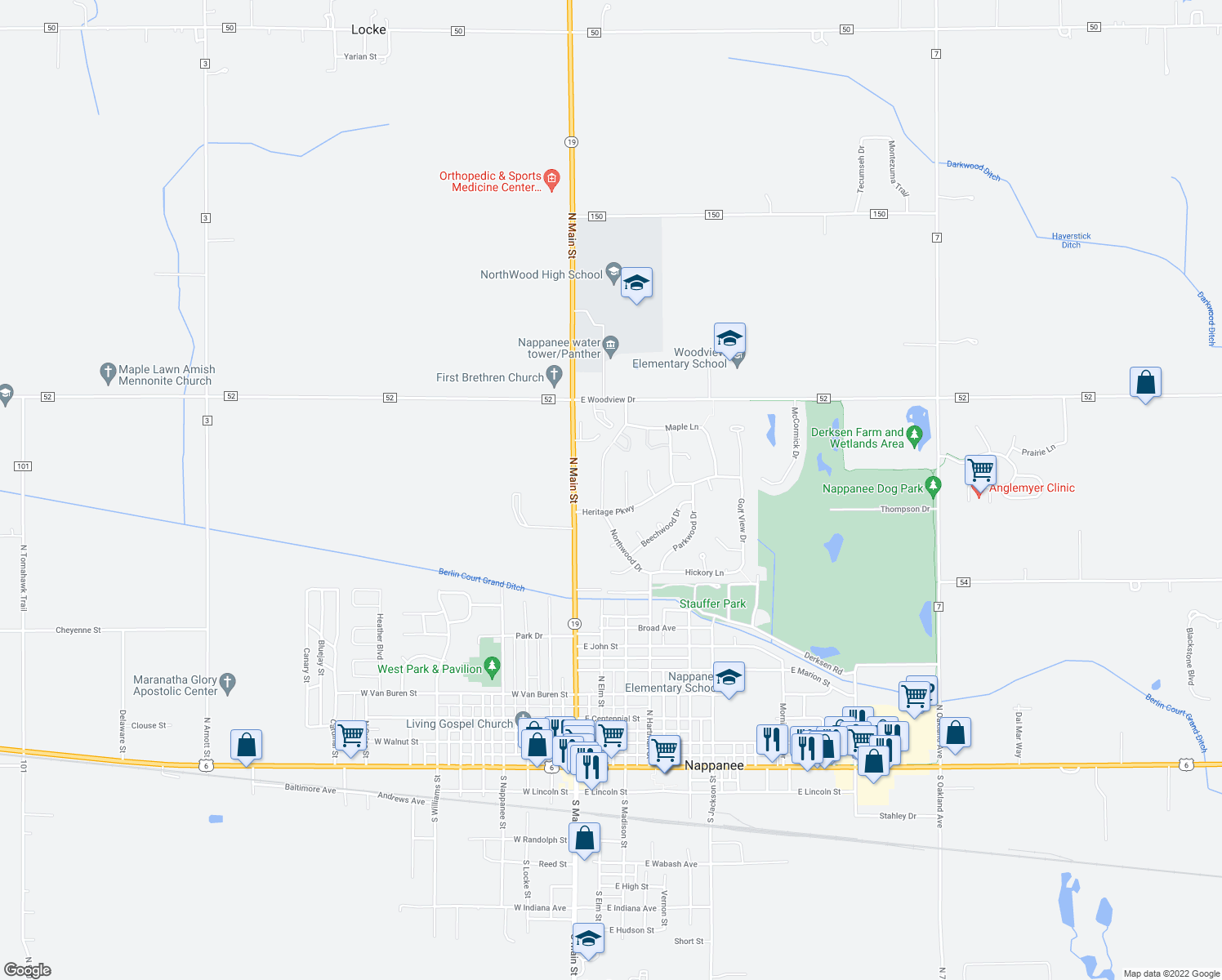 map of restaurants, bars, coffee shops, grocery stores, and more near 1313 Northwood Drive in Nappanee
